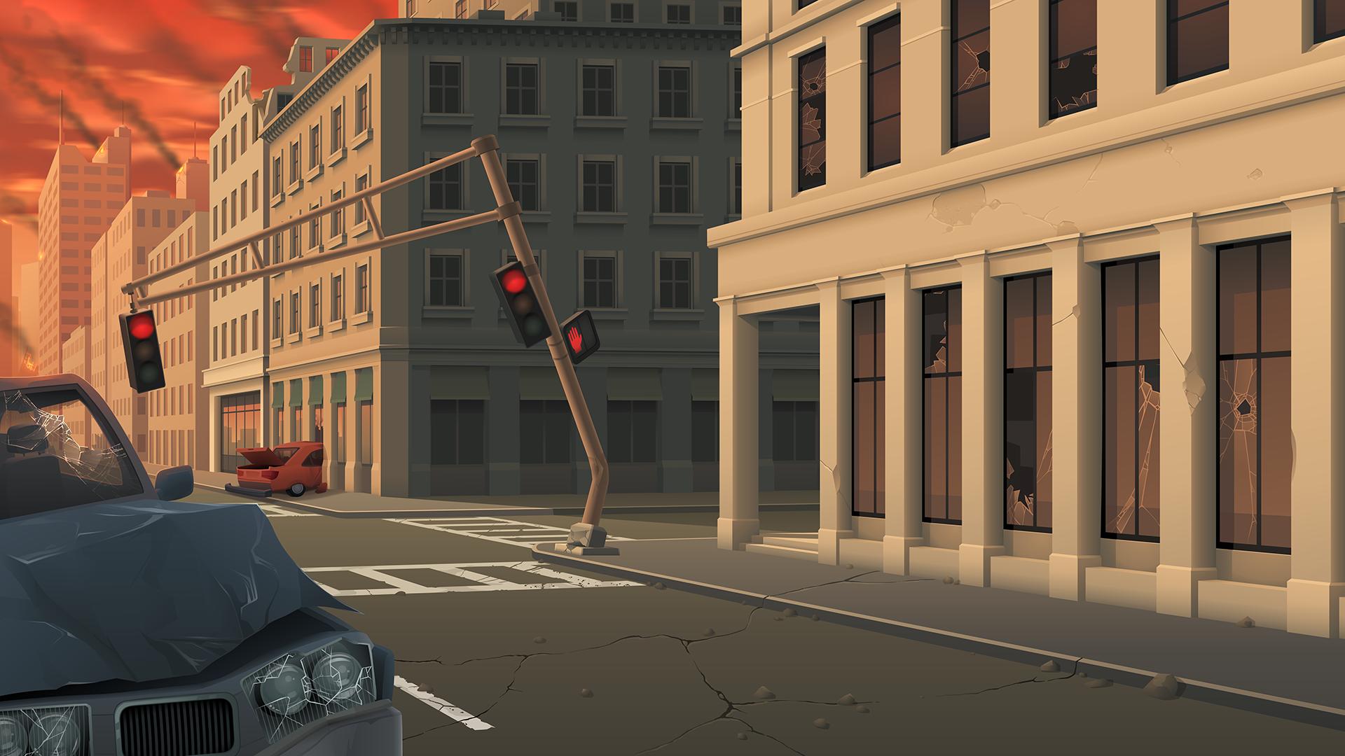 City Street Under Attack - Background Art by zeedox on Newgrounds