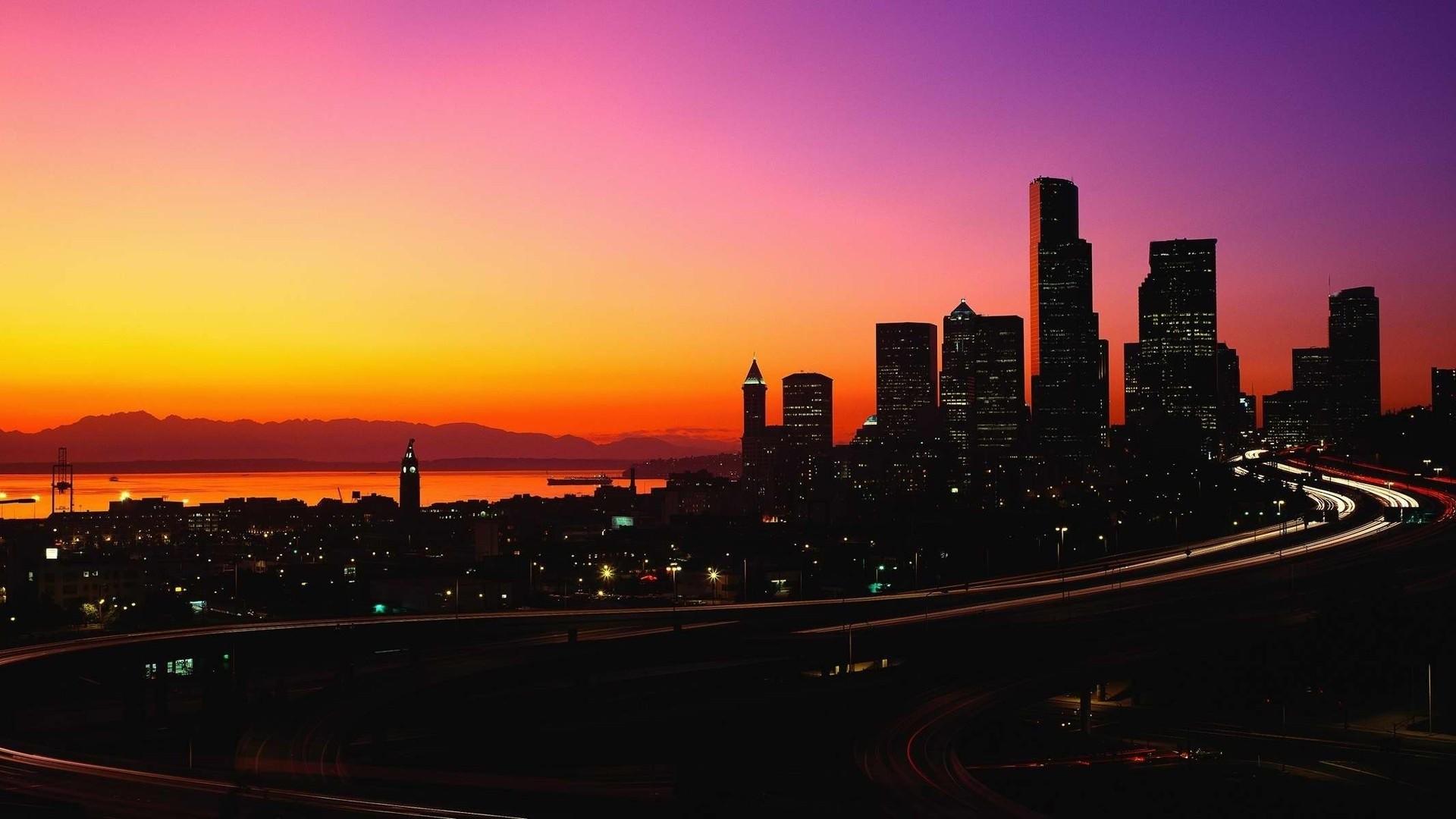 Sunsets: Twilight Sunsets Dusk City Sky Colorful Cityscape Sunset ...