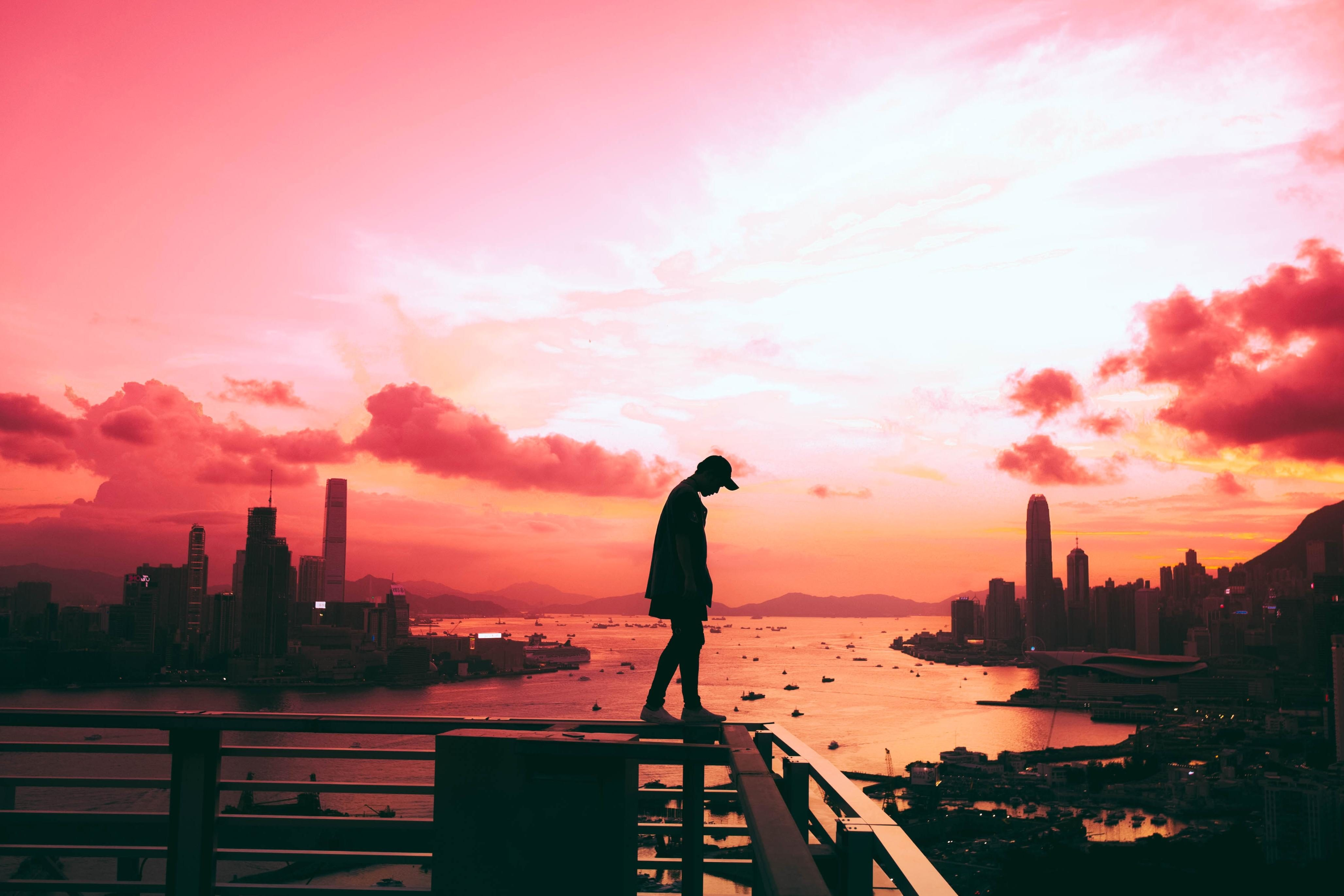 Free picture: sunset, dawn, water, sky, city, dusk, silhouette