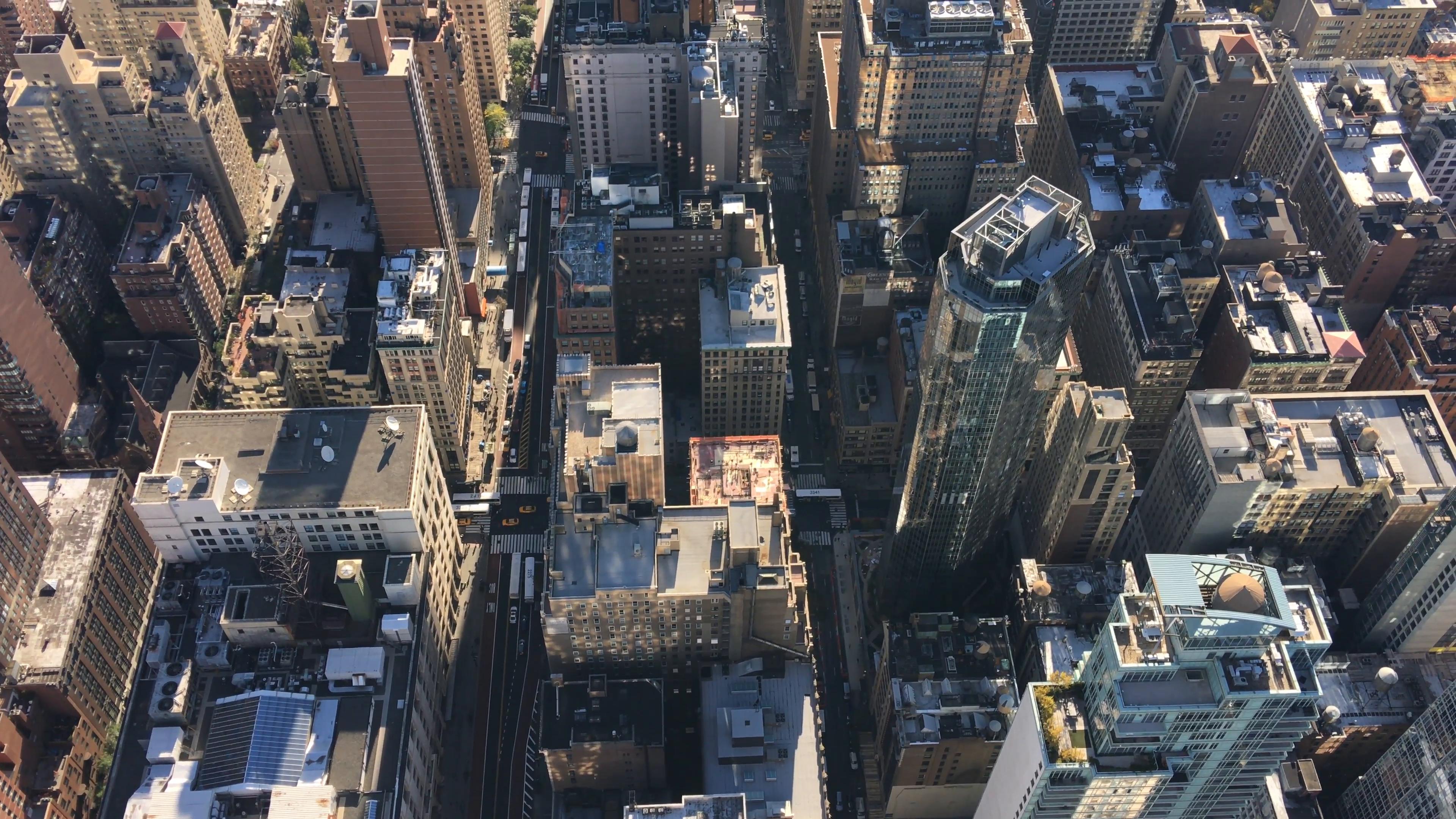 Midtown Manhattan buildings, top-down aerial view of New York City ...