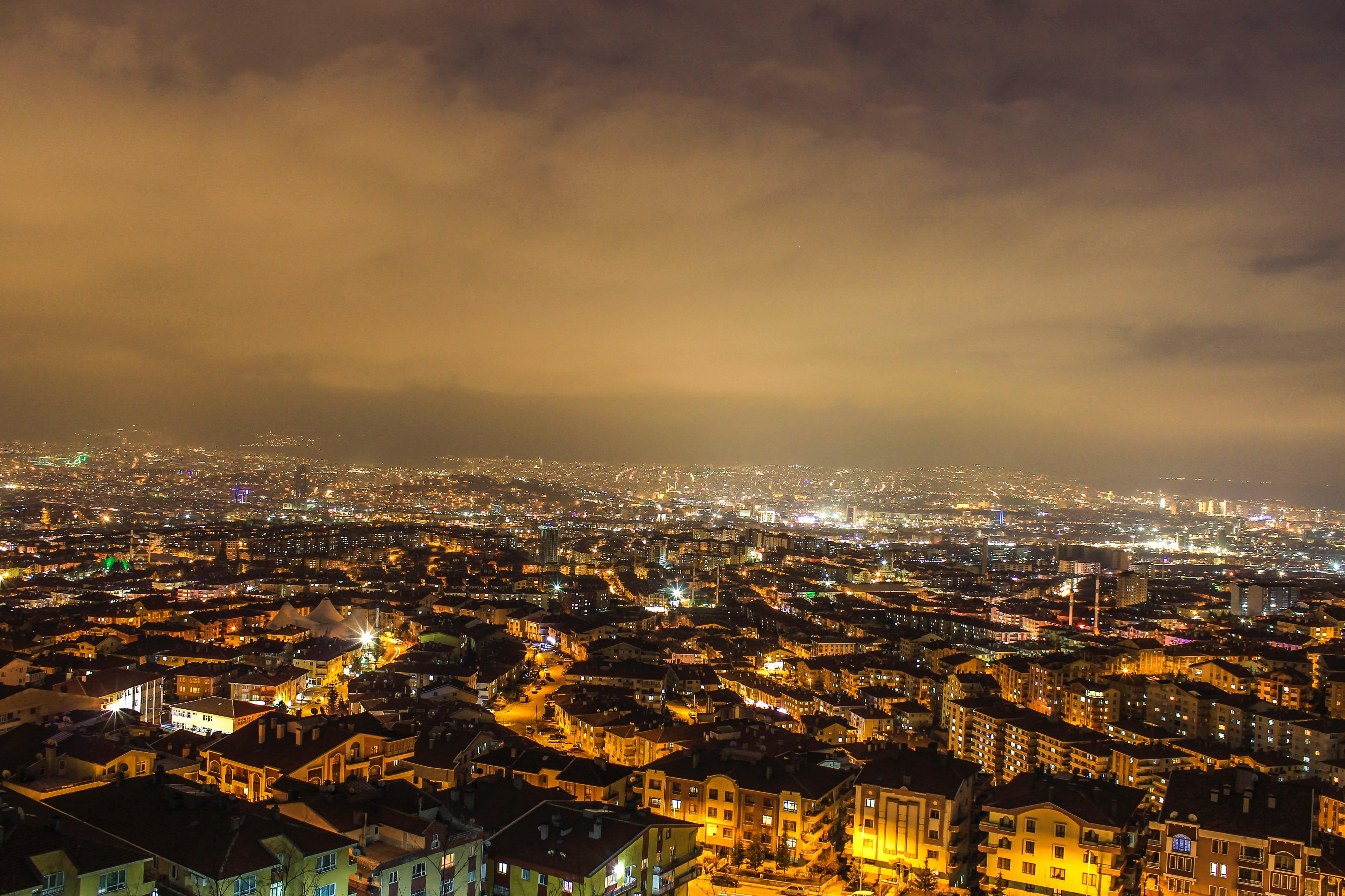 City Top View, Architecture, Buildings, City, Clouds, HQ Photo