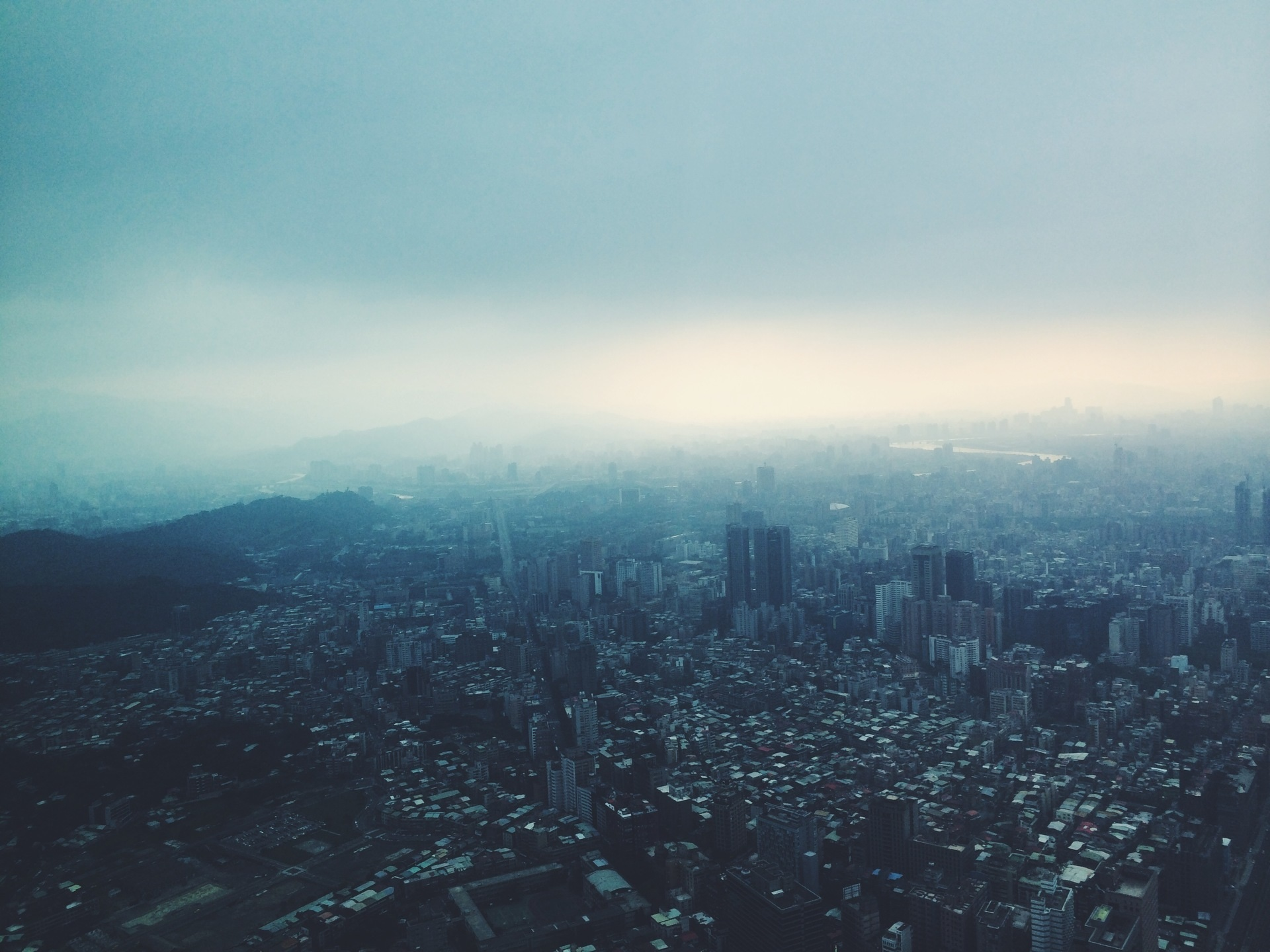 City View, Buildings, City, Fog, Roads, HQ Photo