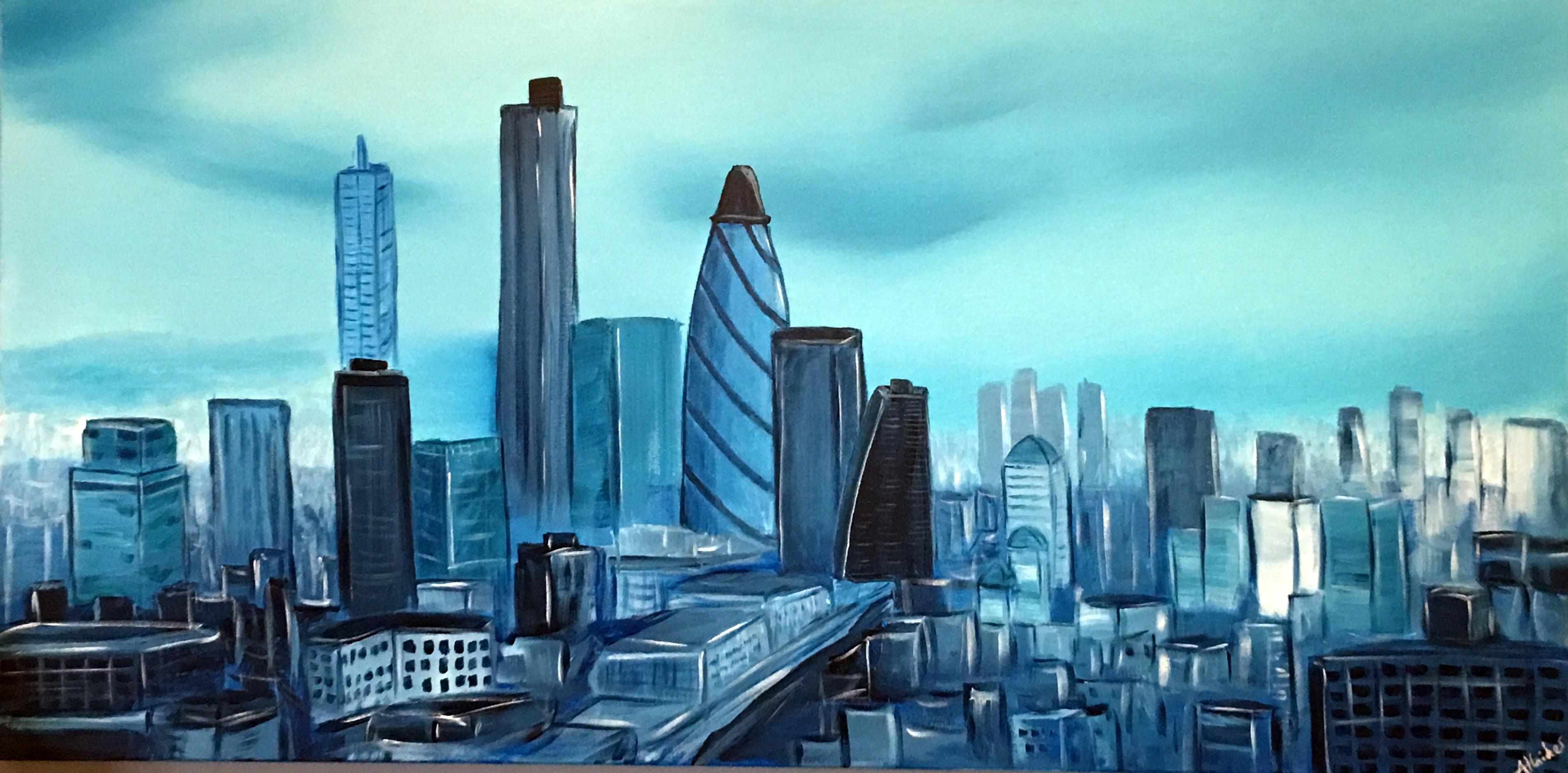 Aisha Haider Artwork: London Cityscape | Original Painting Acrylic ...