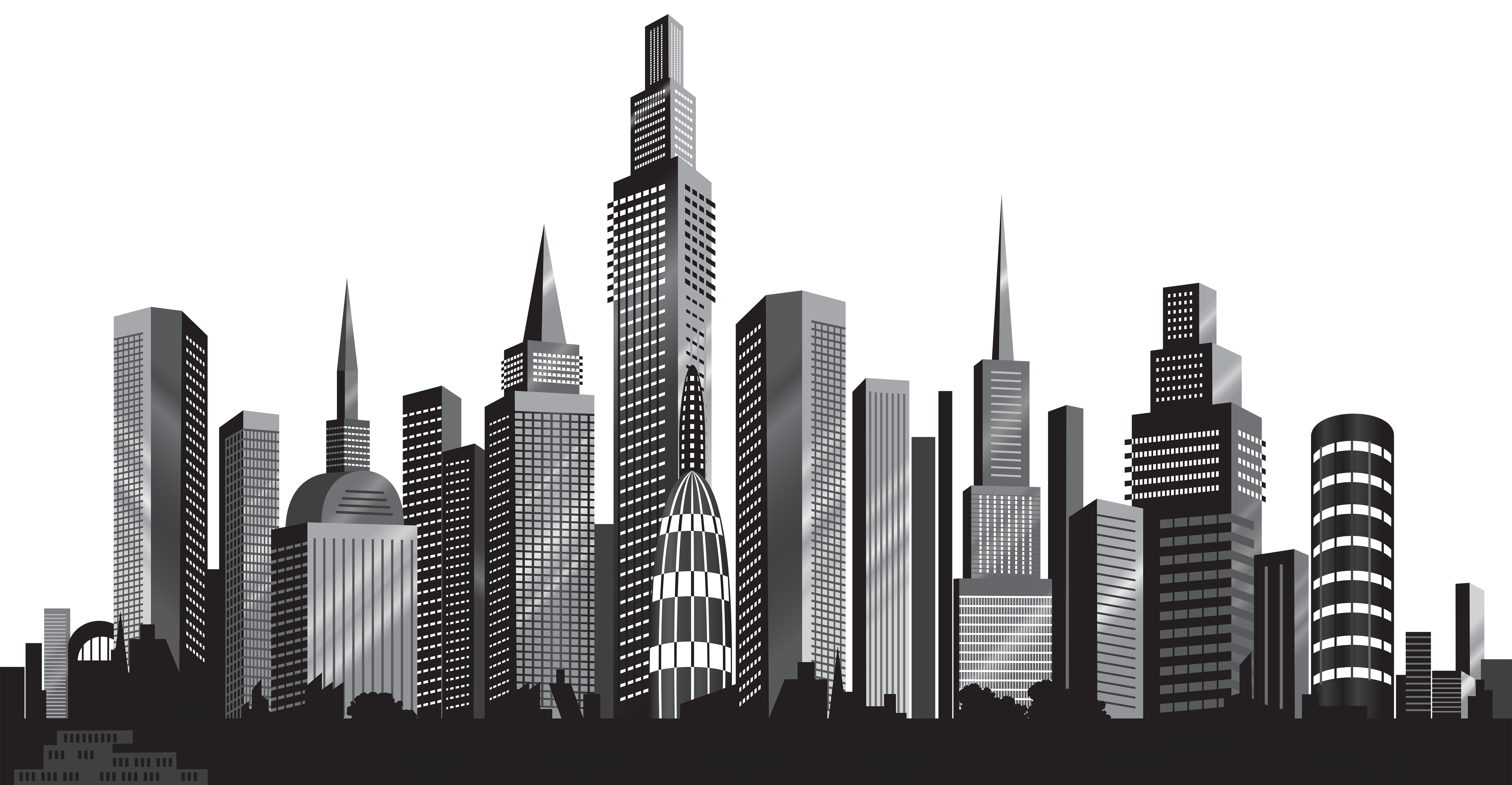 Cityscape Silhouette PNG Clip Art Image | Gallery Yopriceville ...