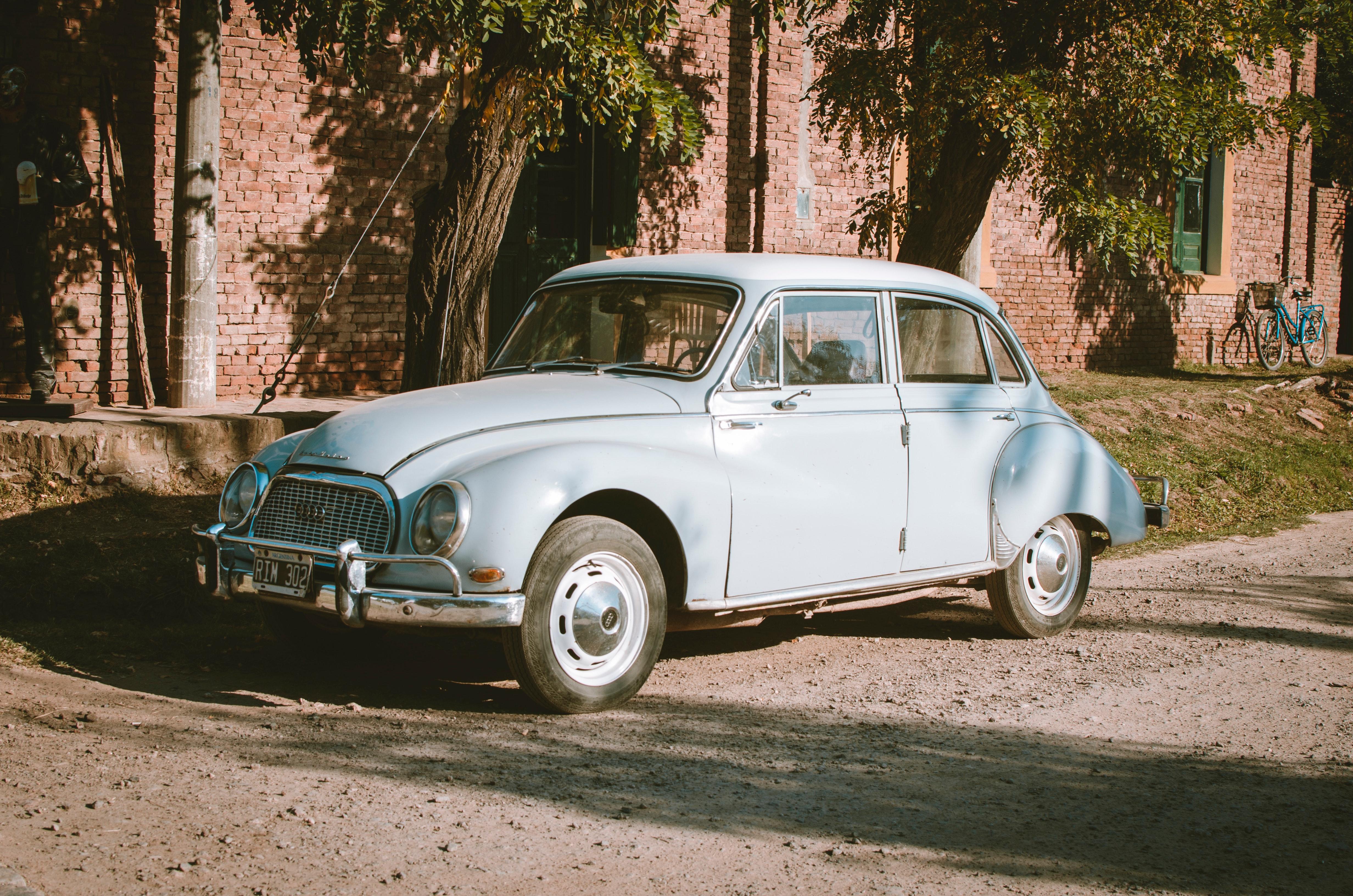 Classic Blue Sedan Near Green Leaf Trees at Daytime, Auto, Outdoors, Vintage, Vehicle, HQ Photo