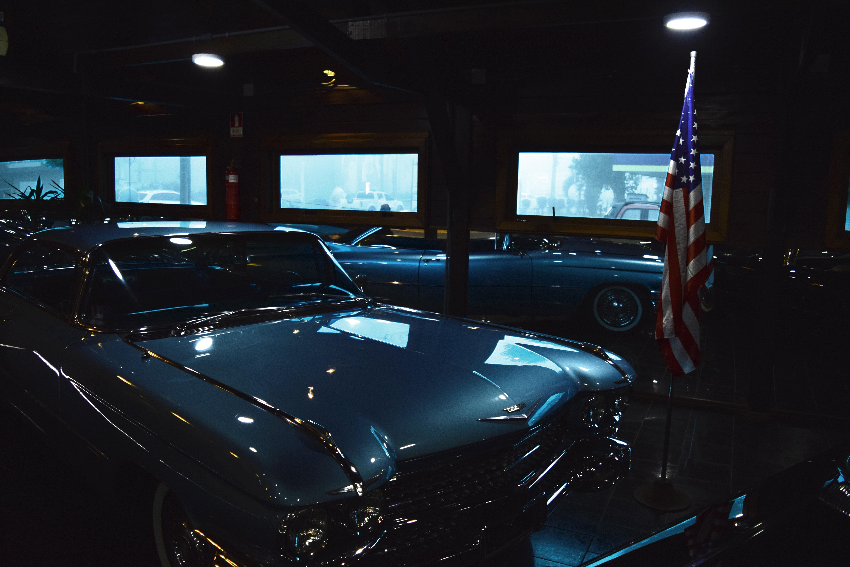 Classic Gray Chevrolet Car Near Us Flag Inside Garage, American car, Metallic, Windows, Wheels, HQ Photo