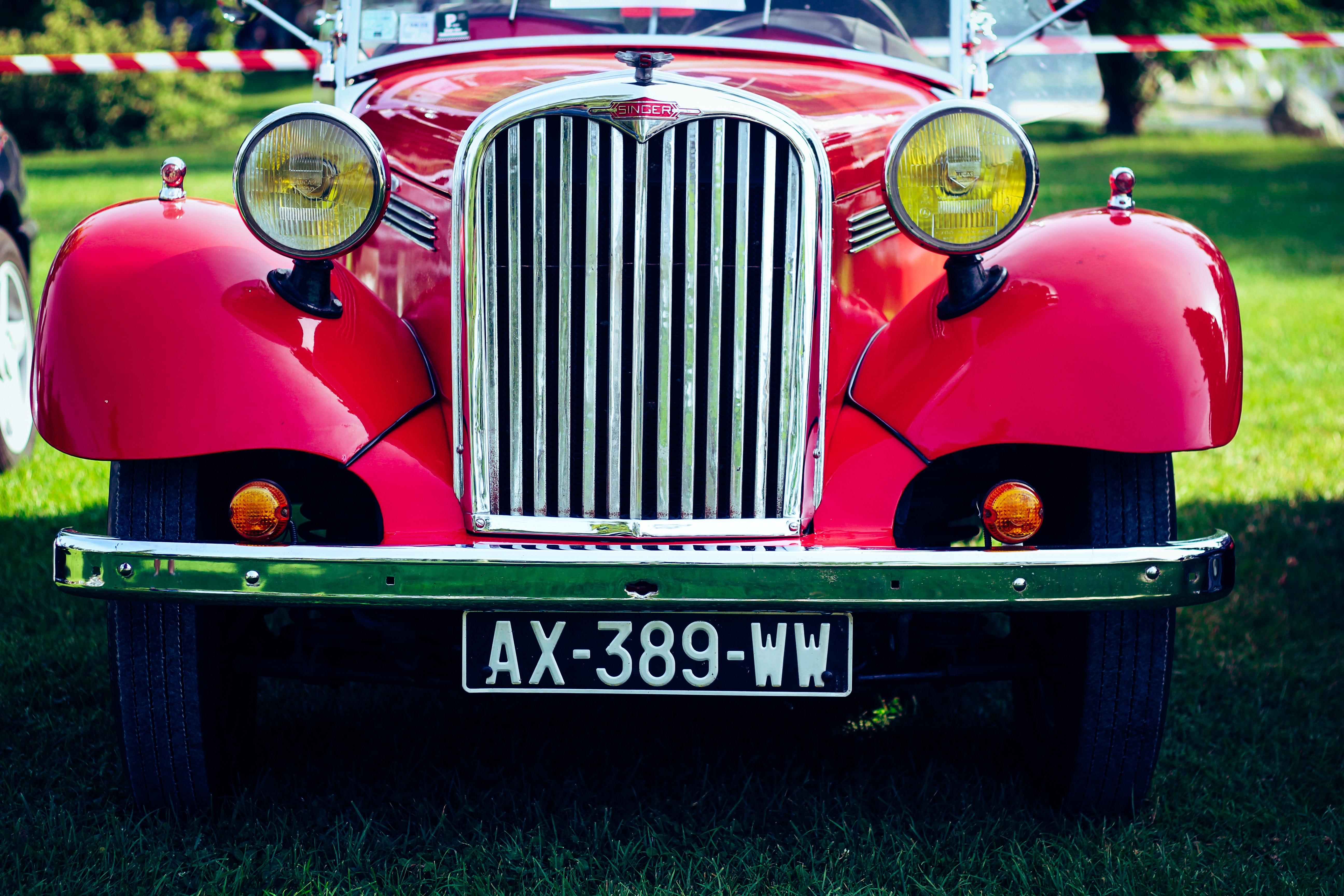 Classic Red Car on Green Grass, Auto, Hood, Vintage, Vehicle, HQ Photo