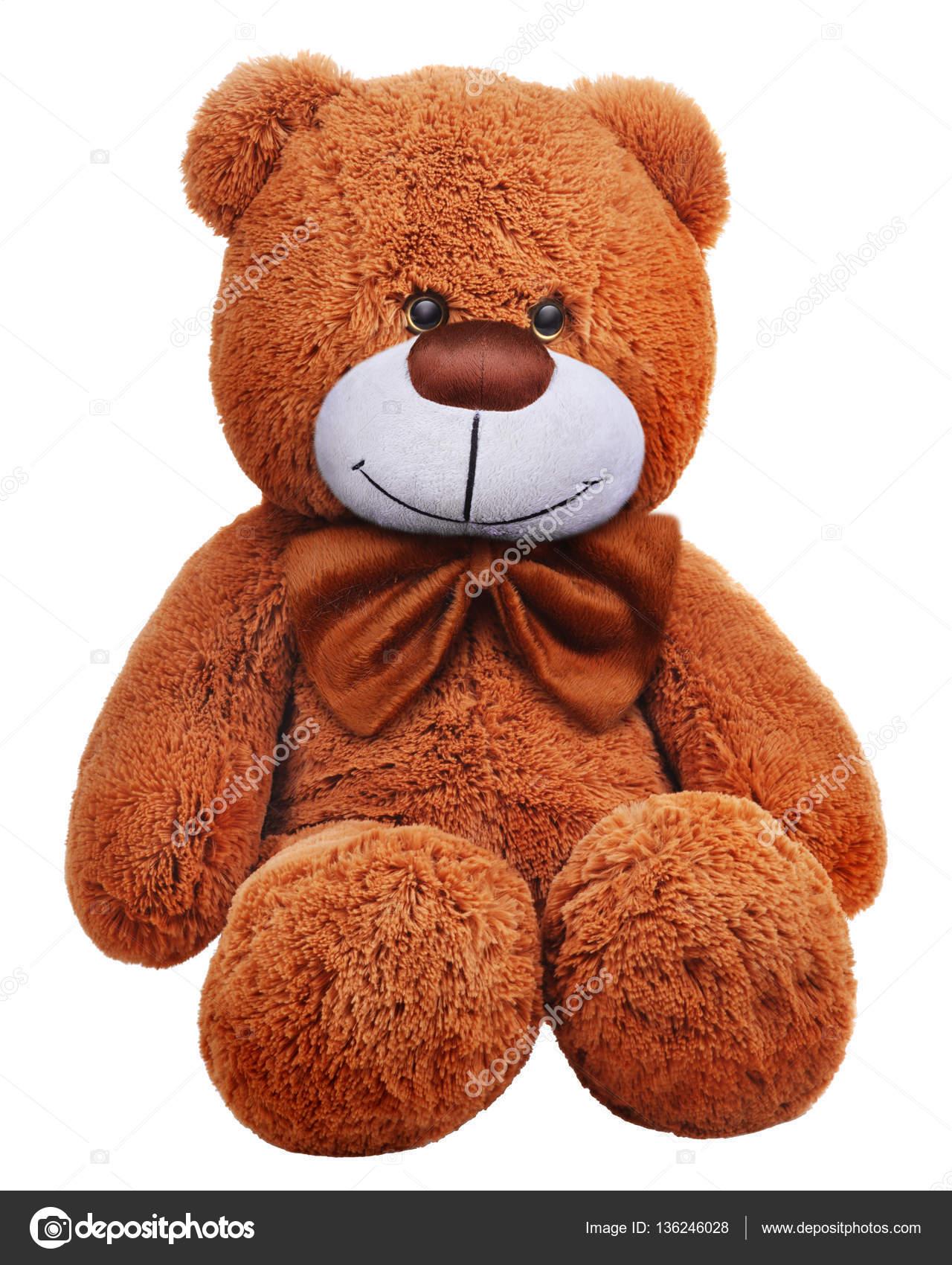 Classic teddy bear with brown bow — Stock Photo © nektoetkin #136246028