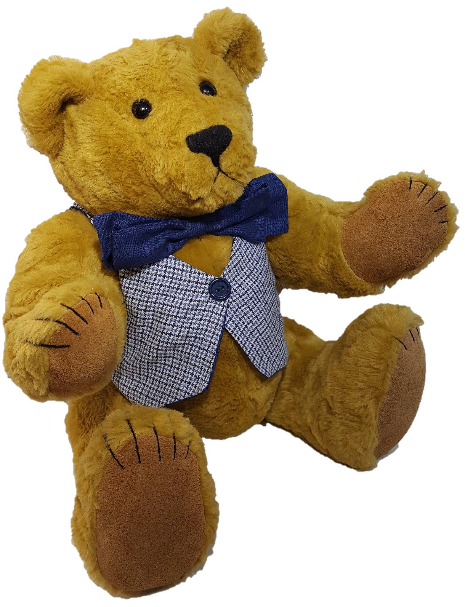 Classic Teddy in blue waistcoat