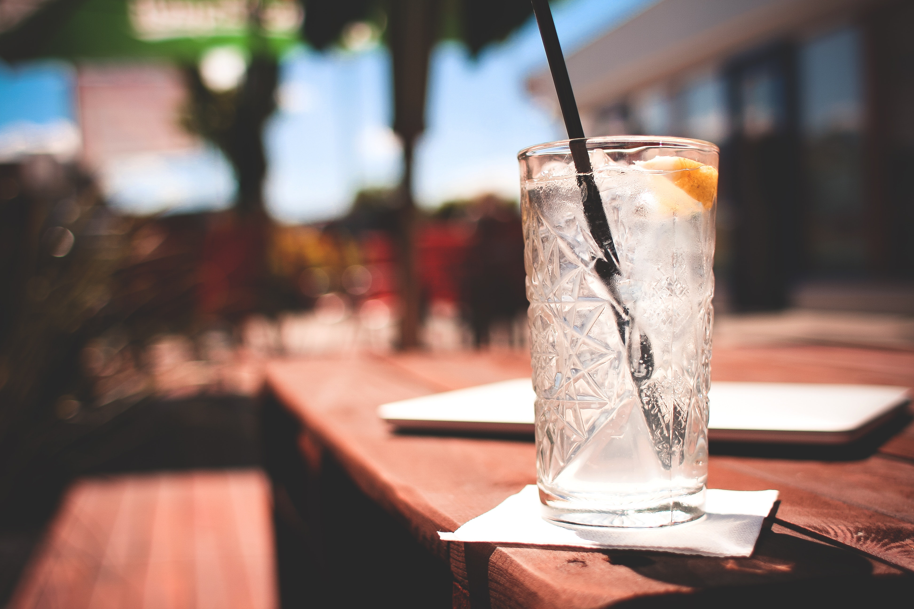 Clear Drinking Glass, Alcohol, Lemon, Thirsty, Table, HQ Photo