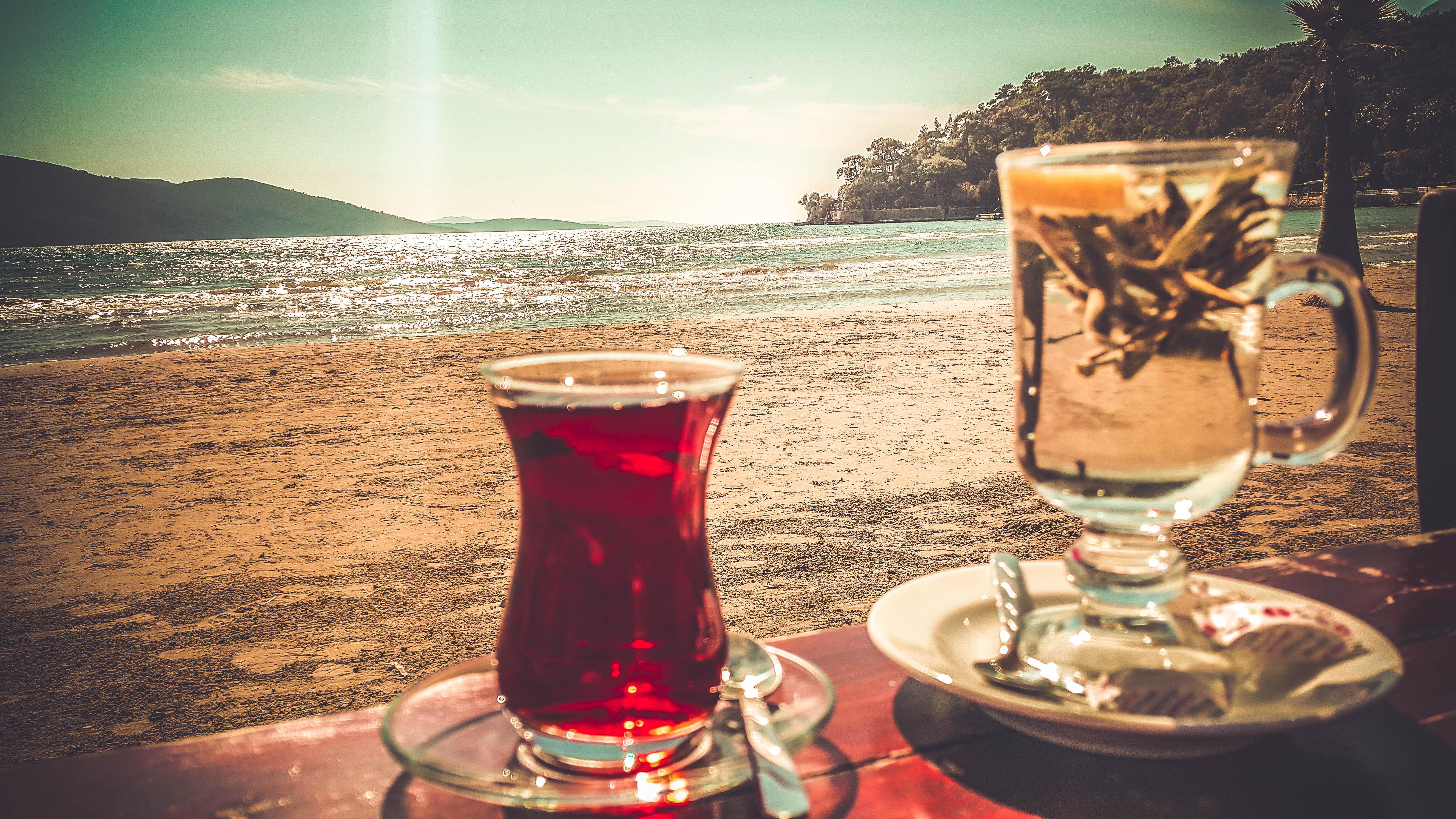 Clear turkish glass on saucer photo