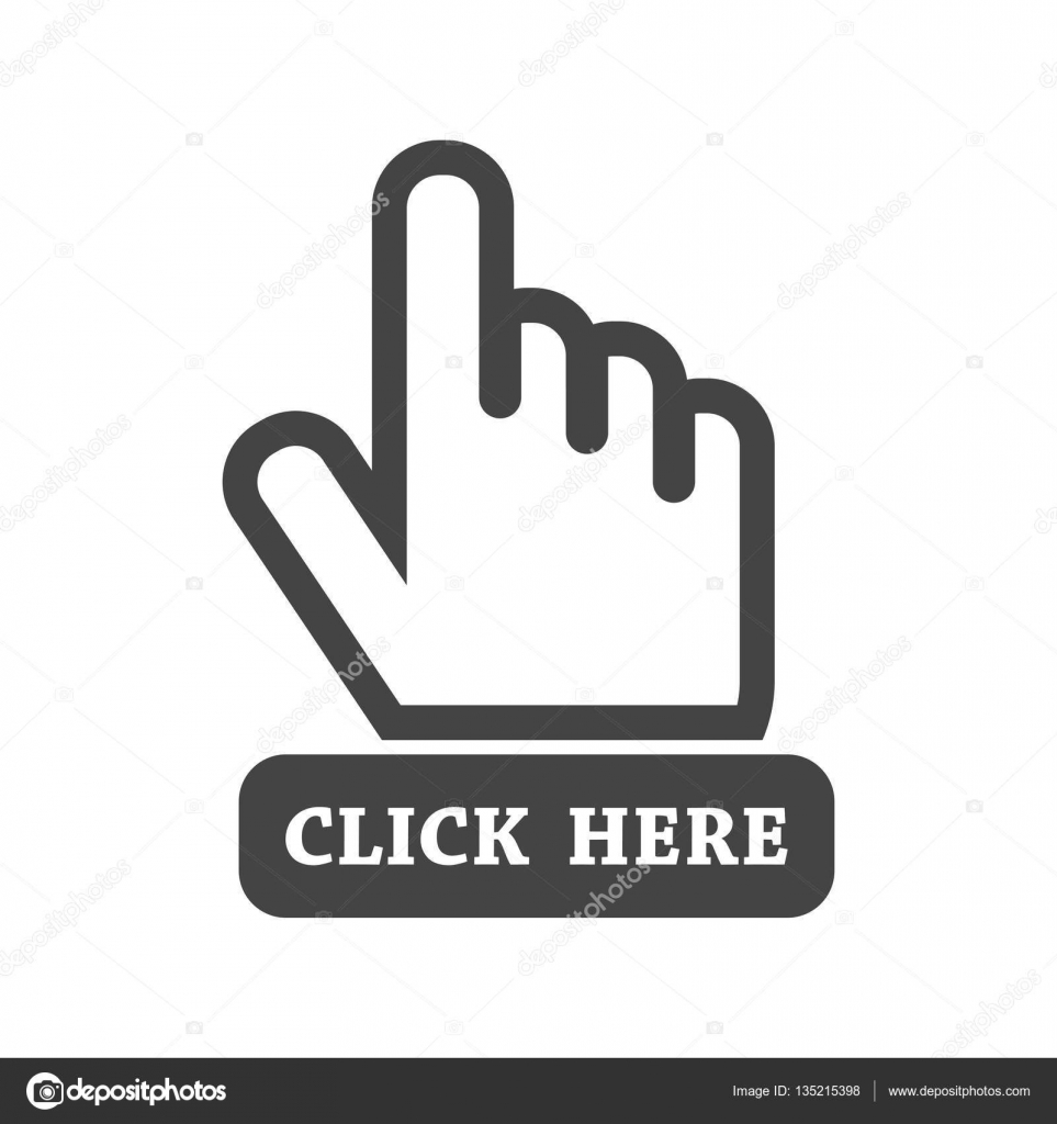 Click here icon. Hand cursor signs. Black button flat vector ...