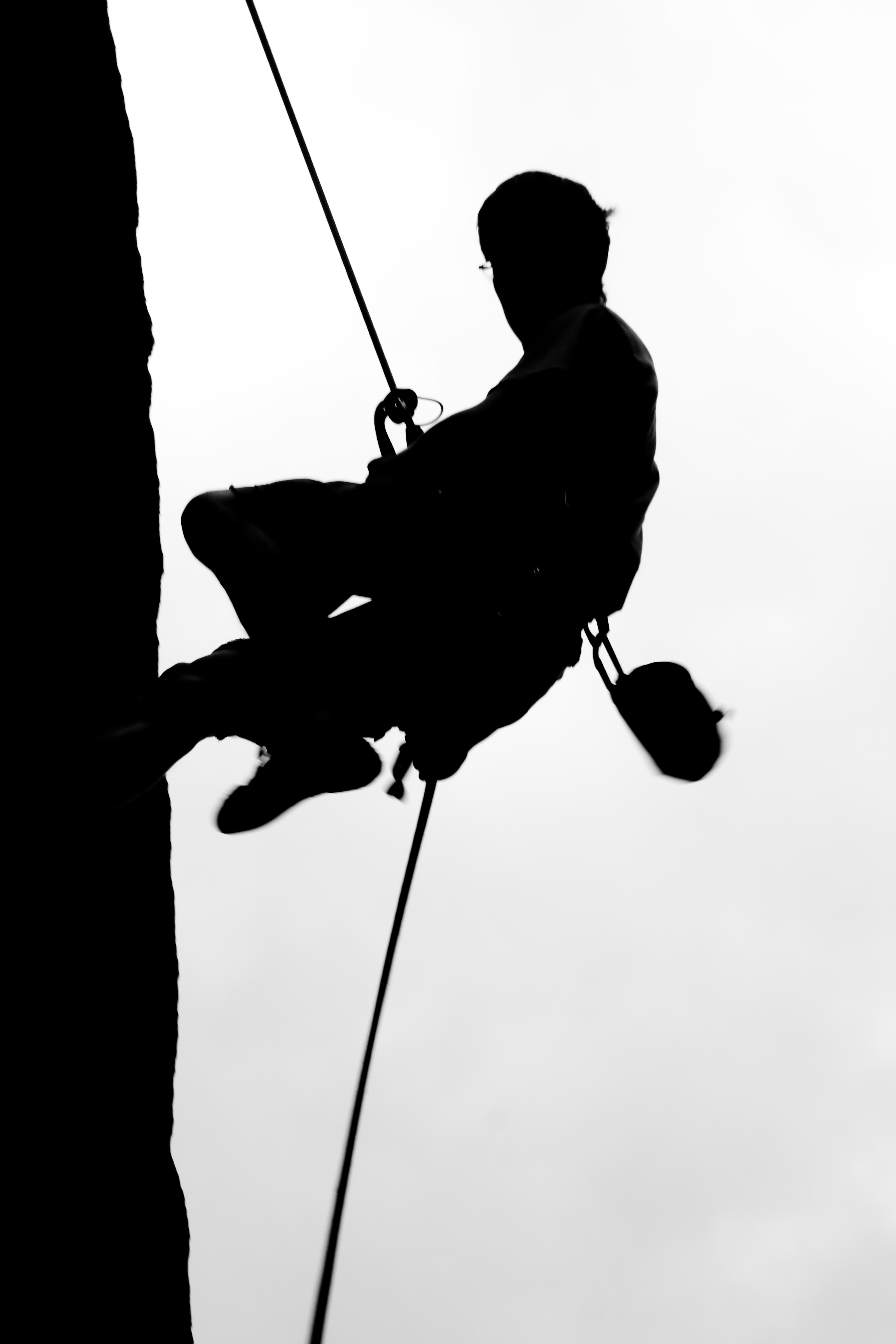 Climber on Rapel, rock, rappel, rockclimbing, rope, HQ Photo