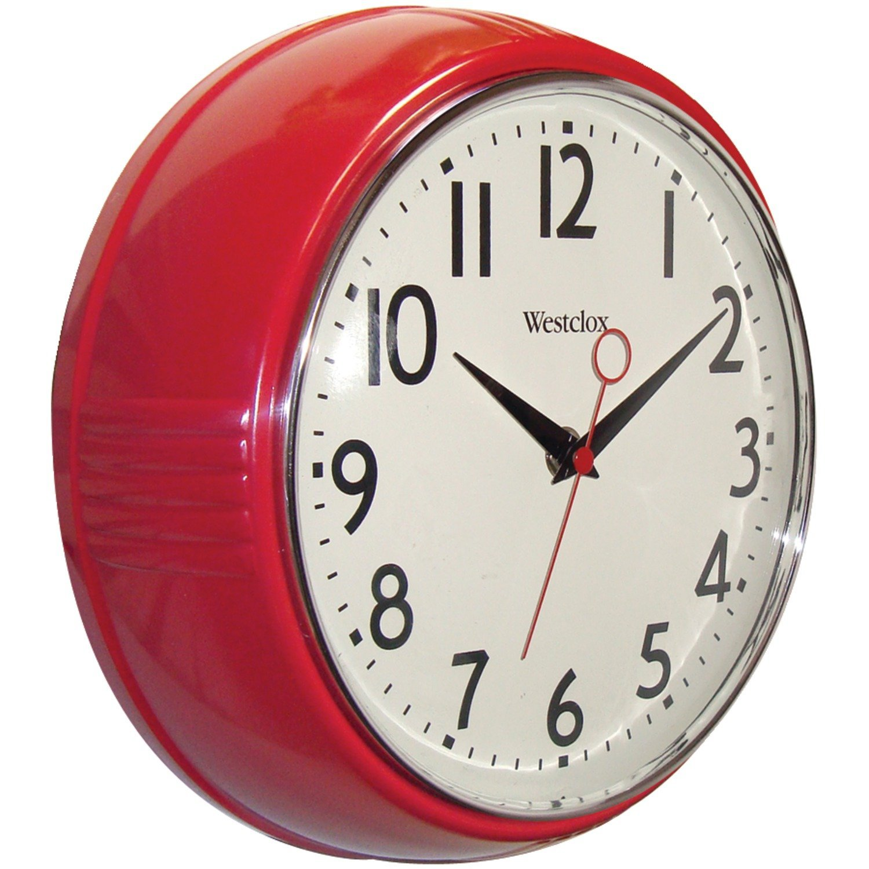 Amazon.com: Westclox 32042R Retro 1950 Kitchen Wall Clock, 9.5-Inch ...