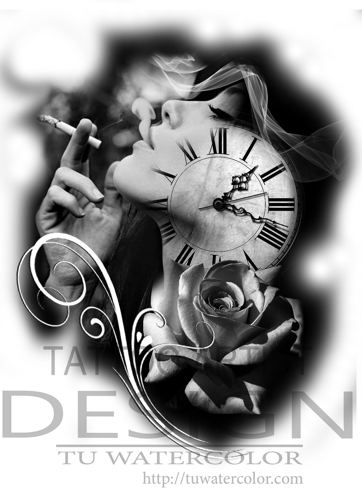 Clock tattoo design photo