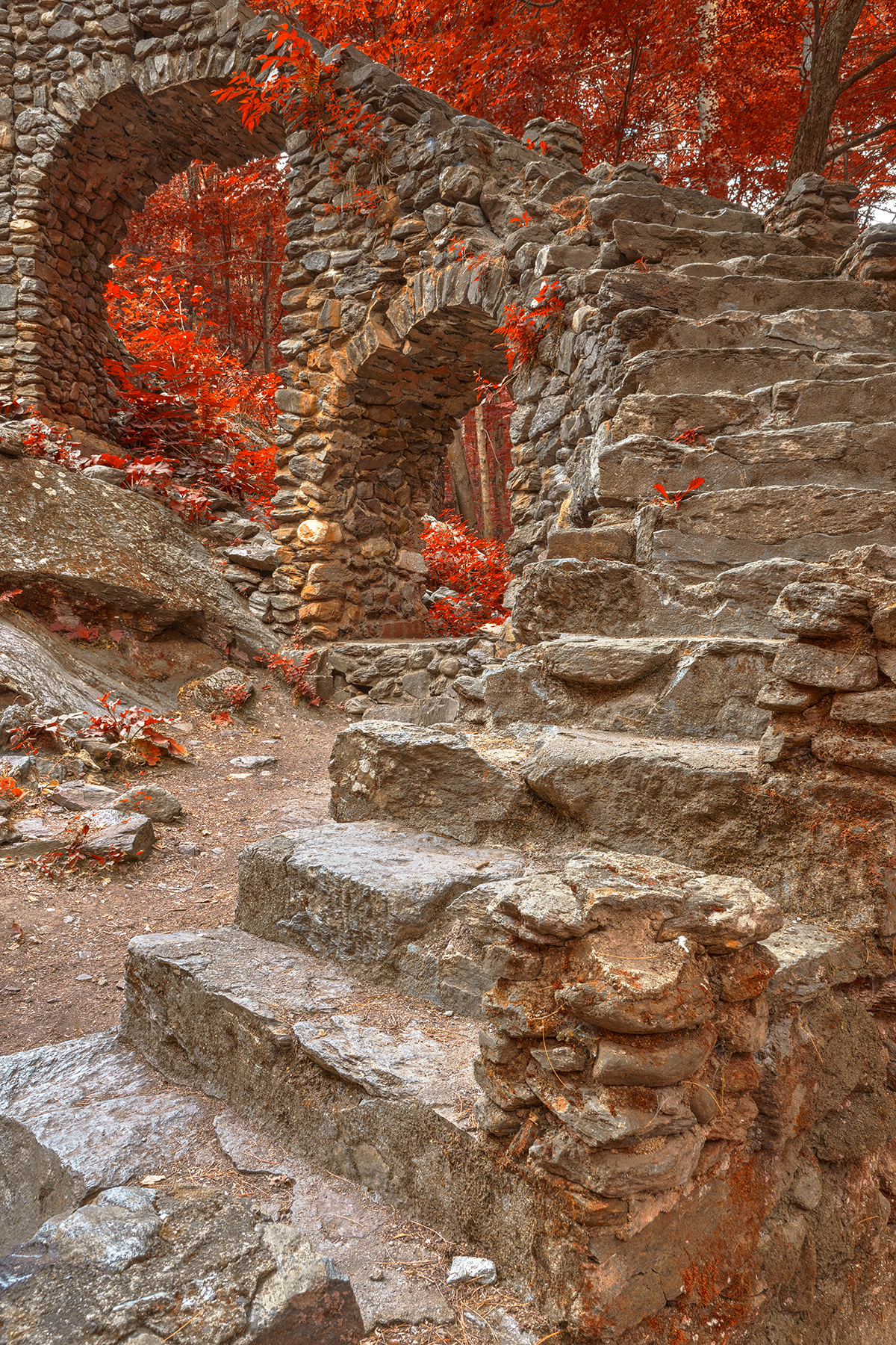 Close-up castle staircase ruins - ruby autumn hdr photo