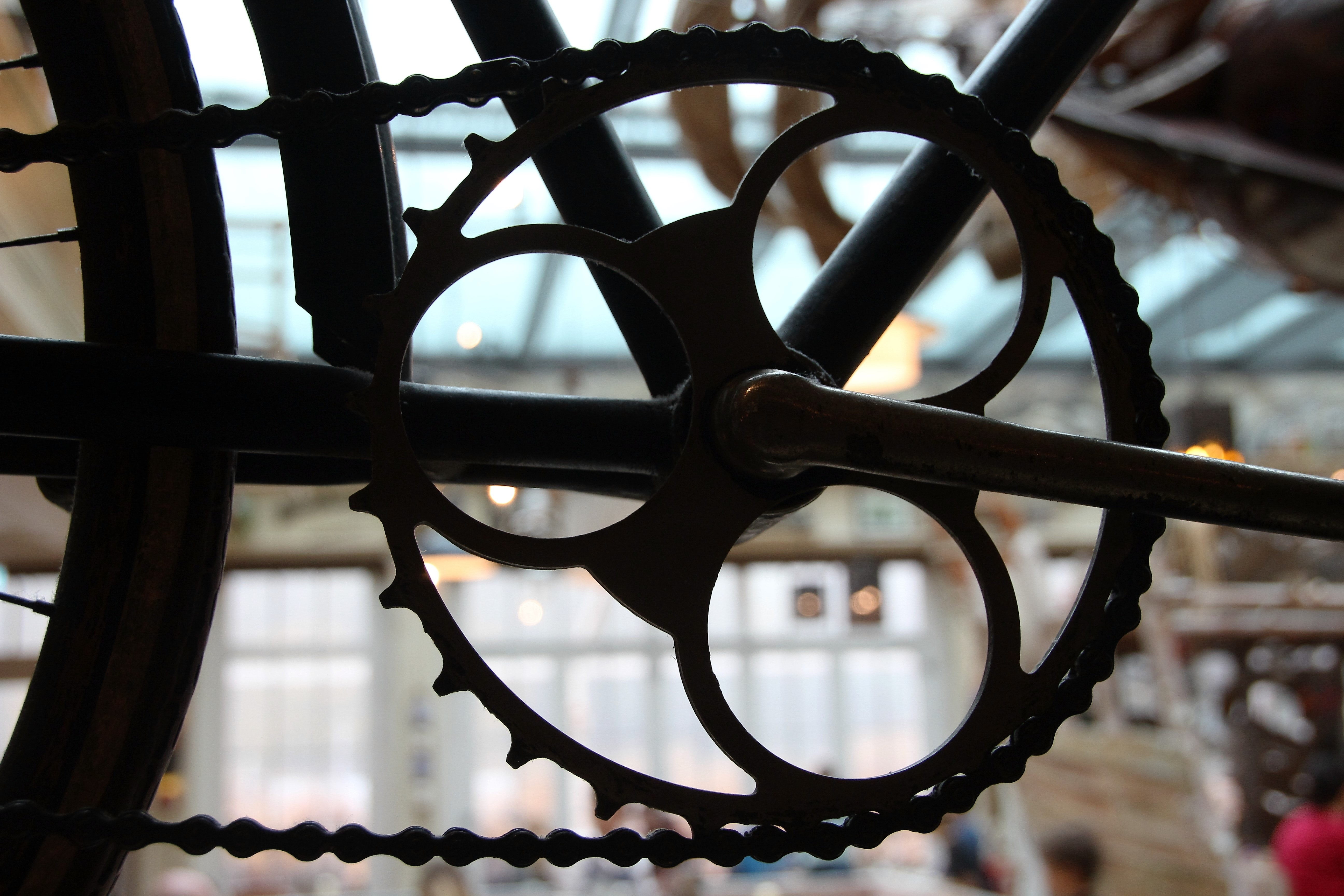Close-up of a Gear, Bicycle, Bicycle frame, Blur, Chain, HQ Photo