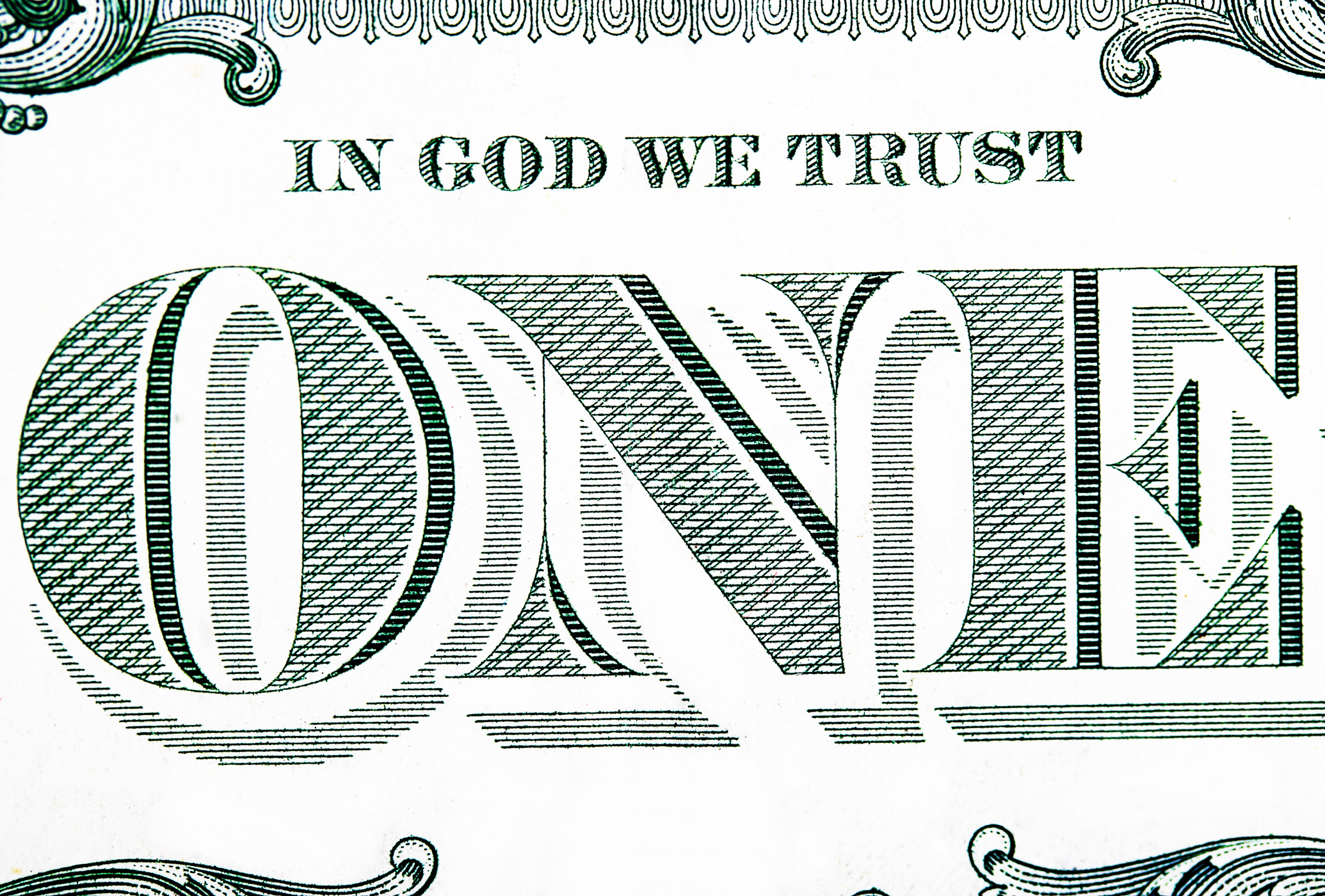 Close up of a one dollar bill photo