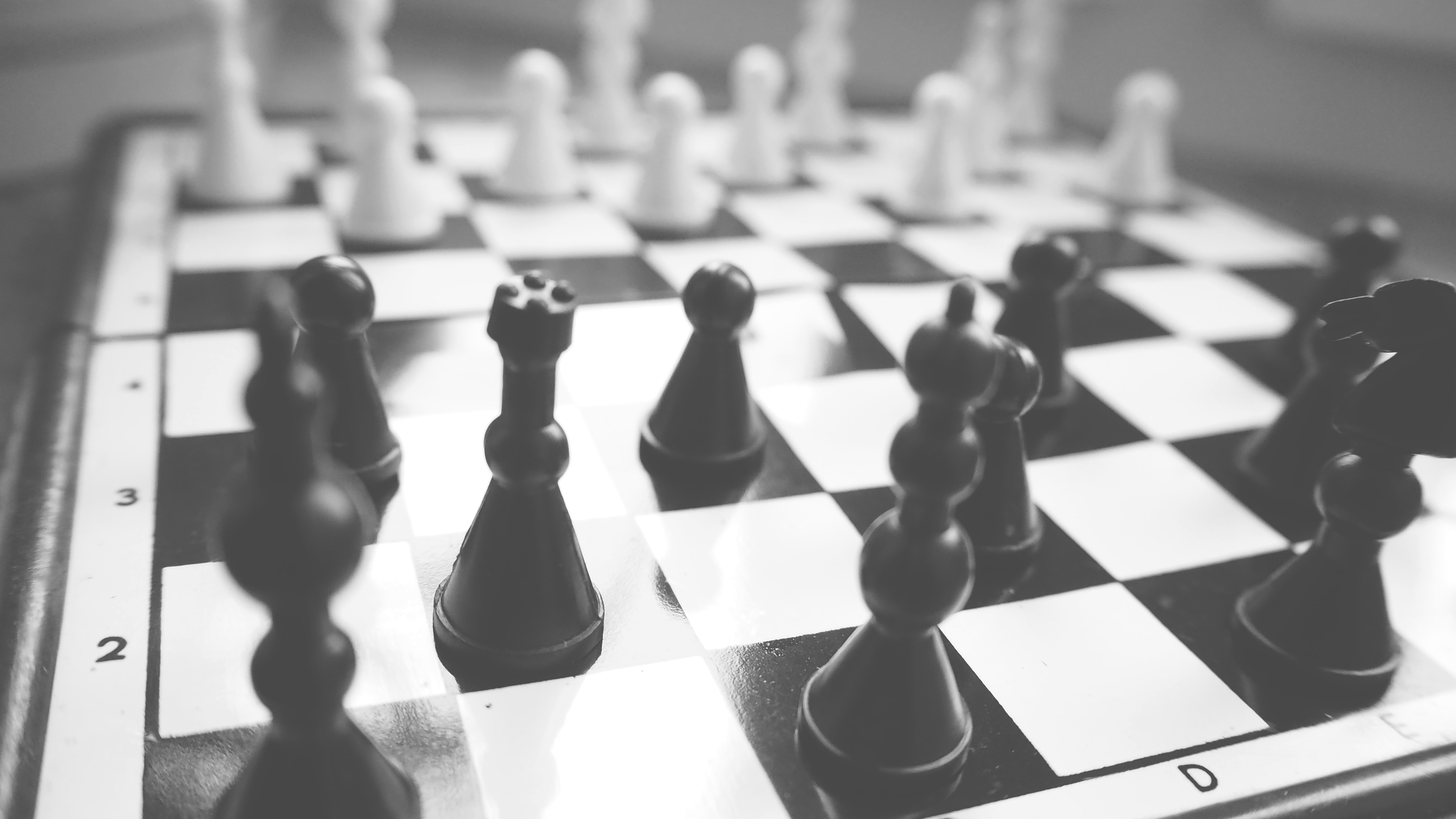 Close-up of Chess Pieces, Black-and-white, Queen, Pawn, Move, HQ Photo