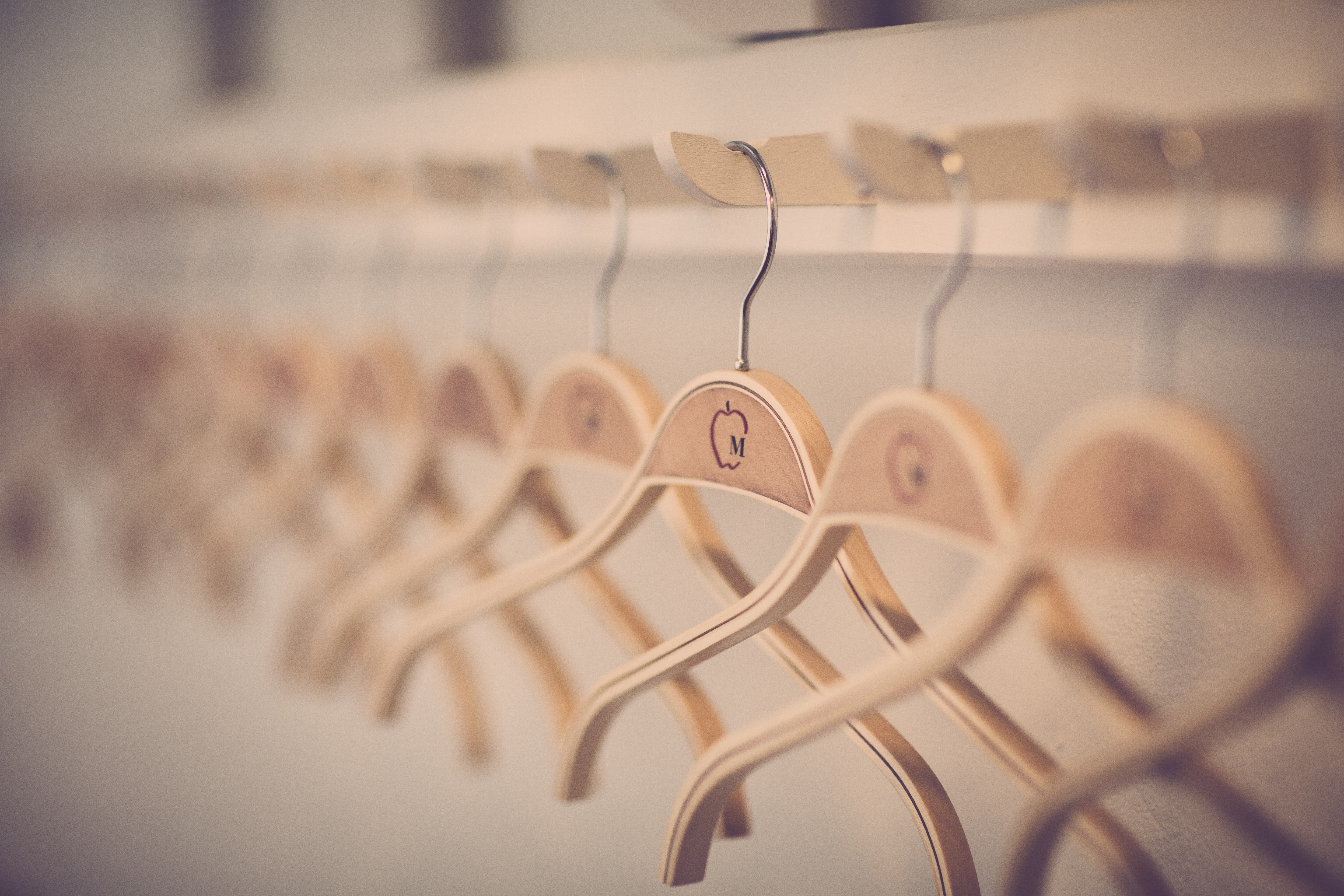 Close-up of Clothes Hanging in Store, Modern, Wooden, Wardrobe, Technology, HQ Photo