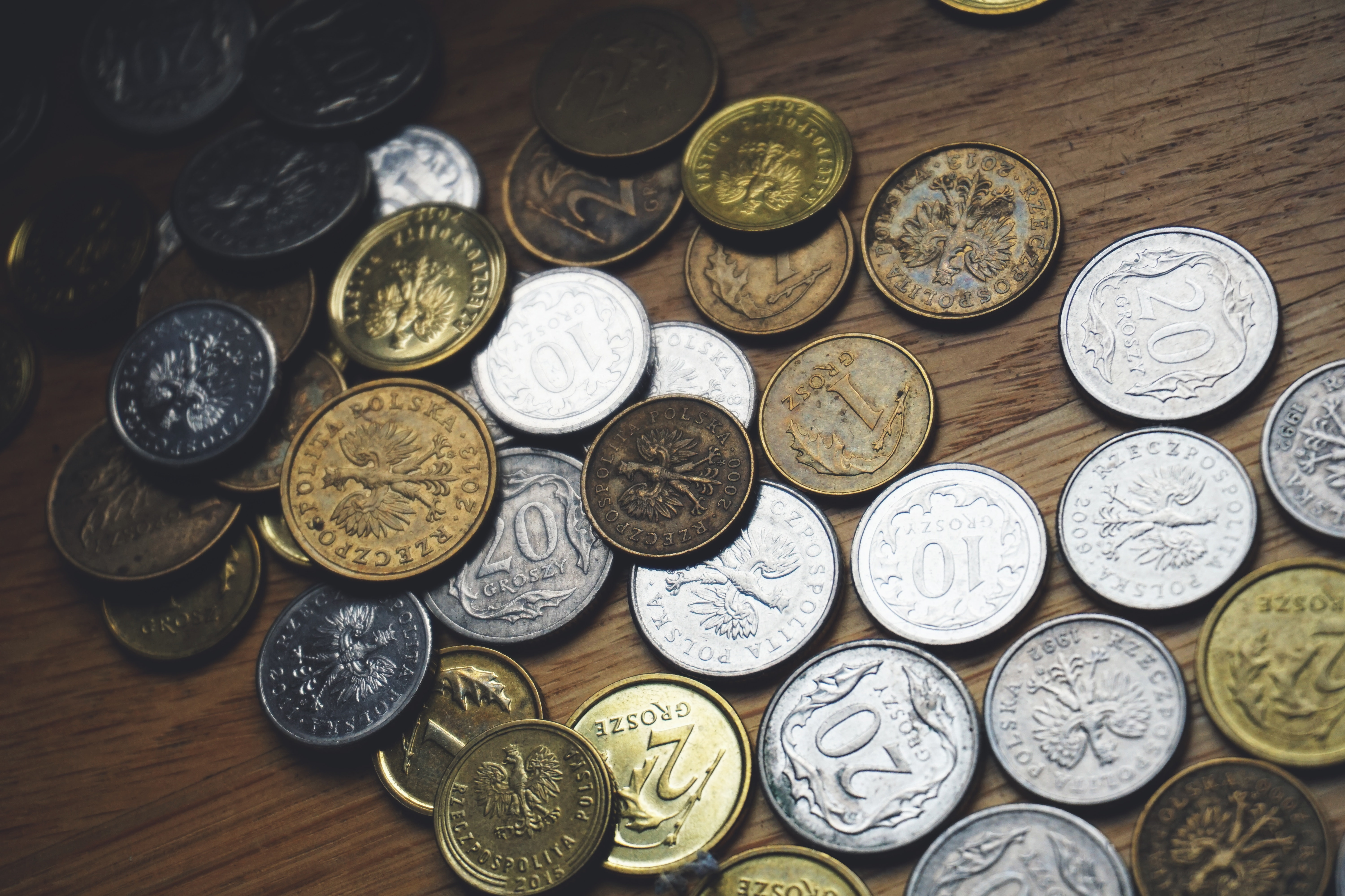 Close-up of Coins on Table, Funds, Wealth, Treasure, Symbol, HQ Photo