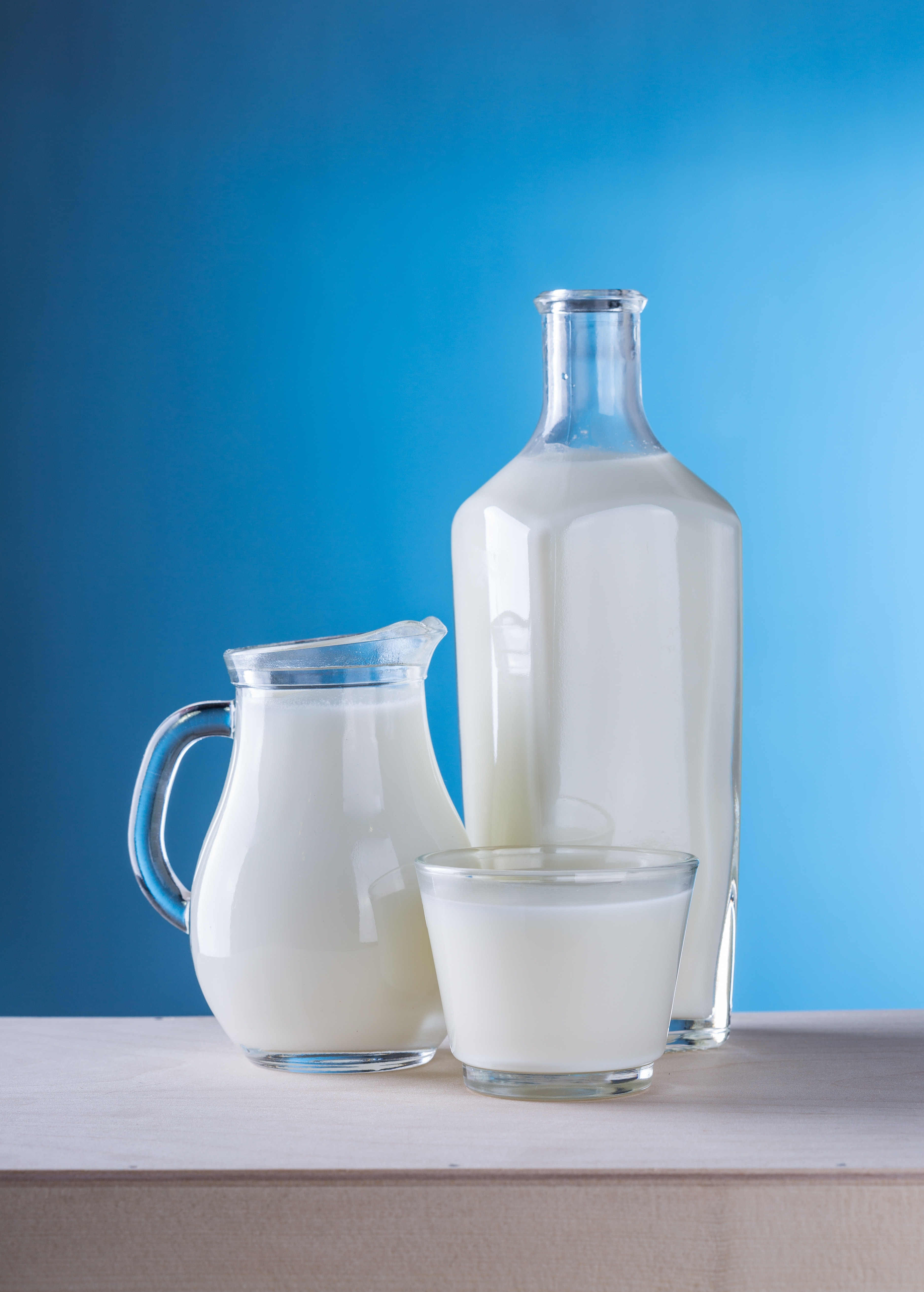 Close-up of Milk Against Blue Background, Bottle, Healthy, Products, Pitcher, HQ Photo