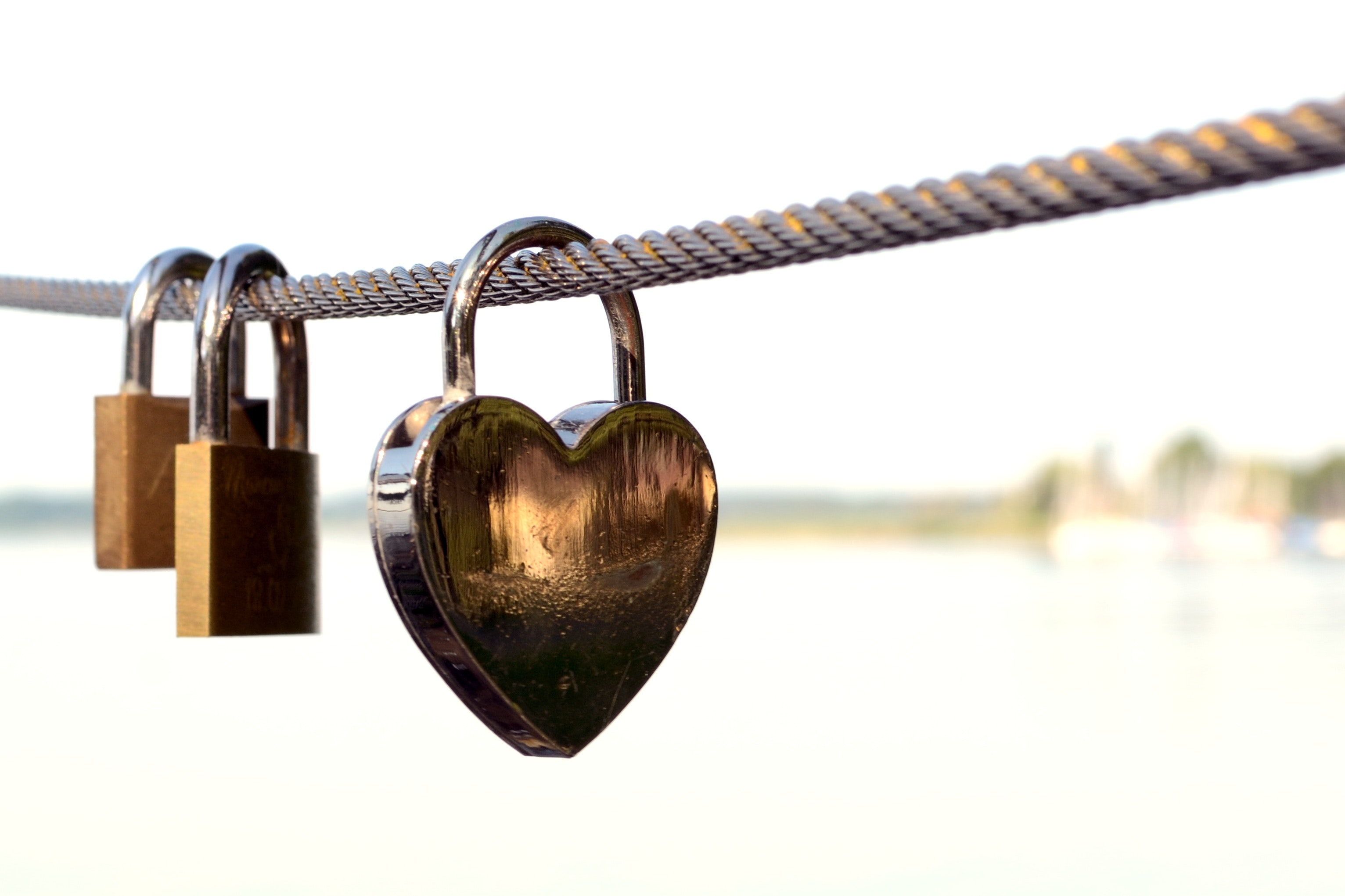 Close-up of Padlocks on Railing Against Sky, Affection, Love symbol, Security, Safety, HQ Photo