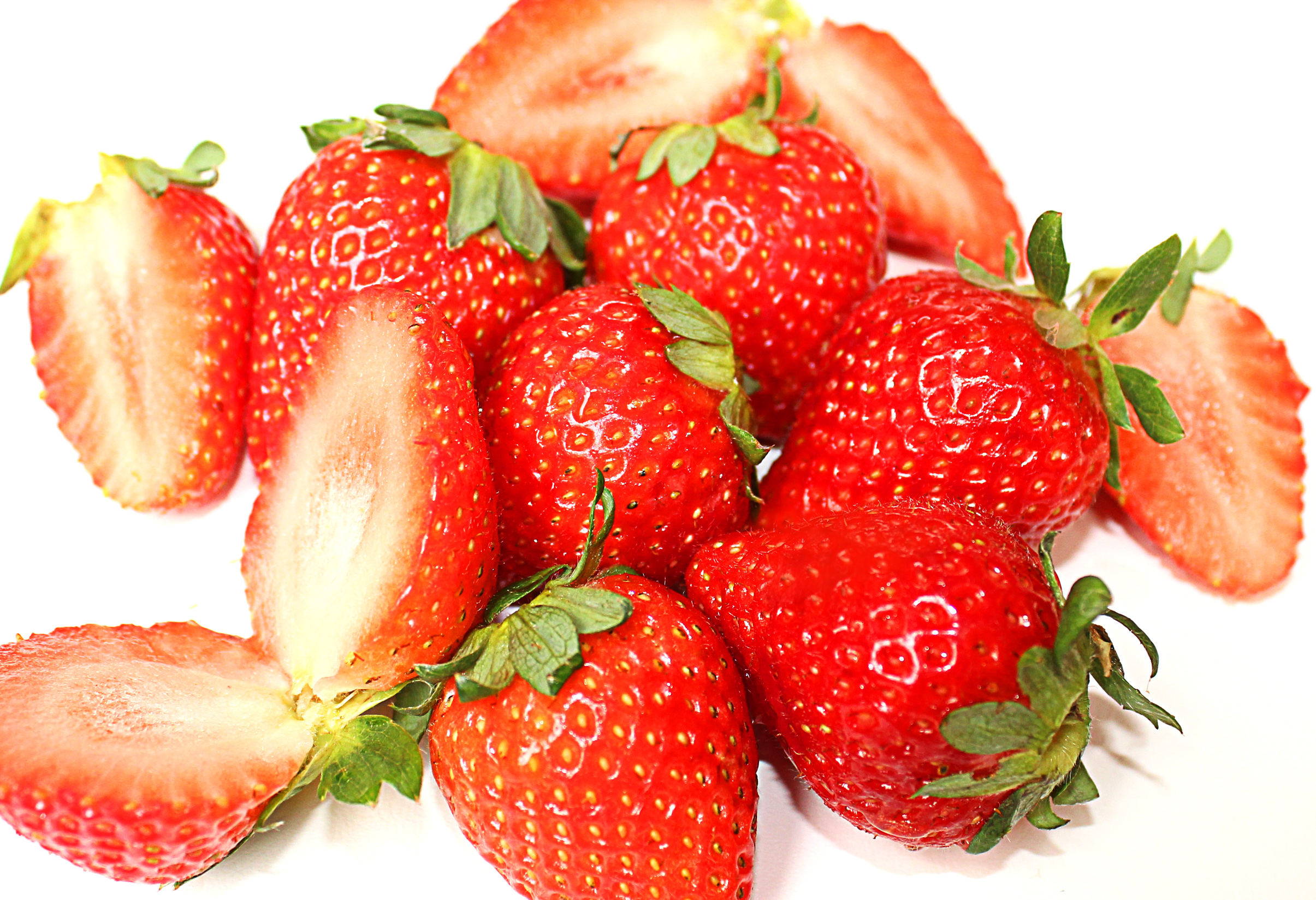 Close-up of red sweet strawberry fruits photo