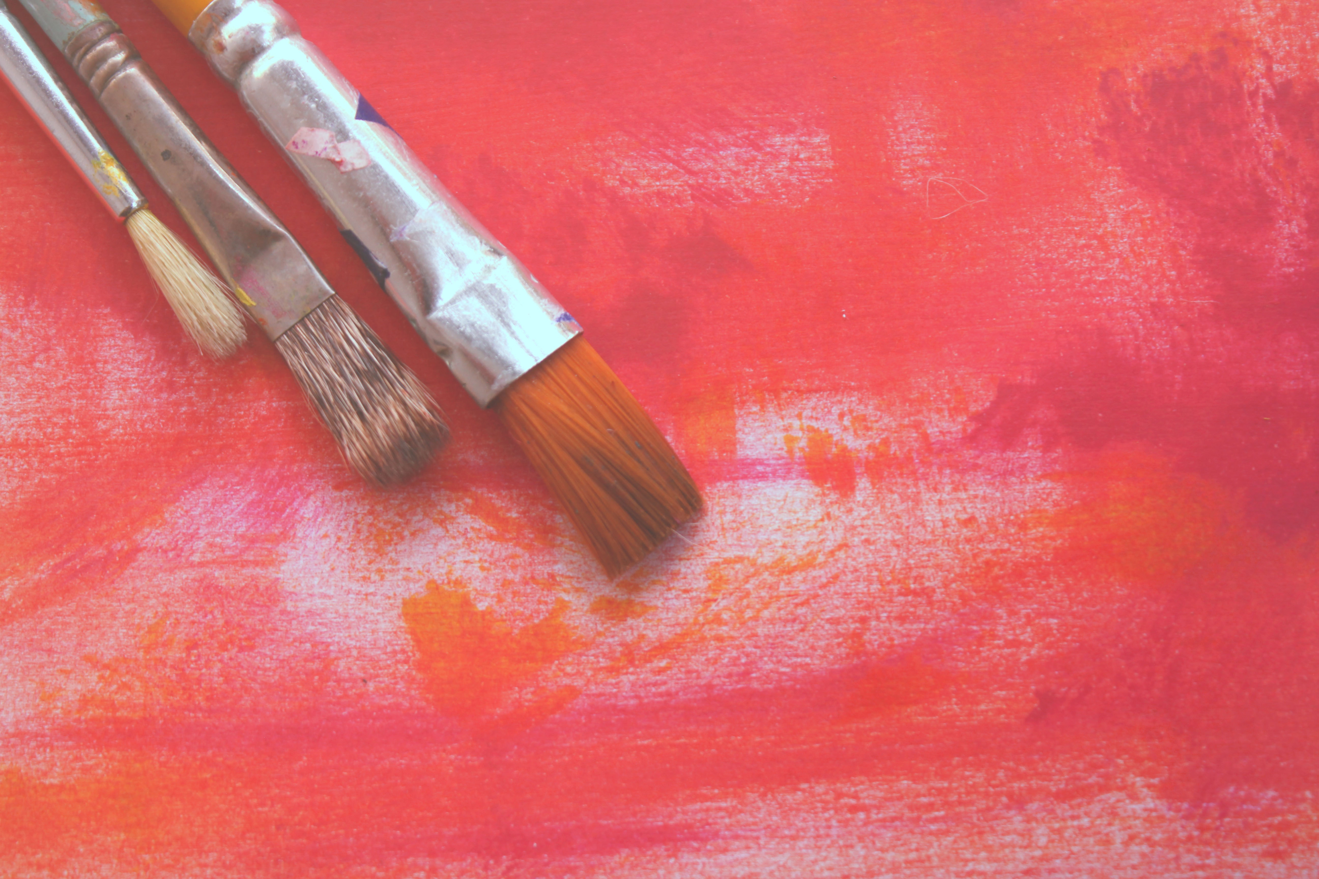Close-up of Red Table, Abstract, Paintbrush, Wear, Red, HQ Photo