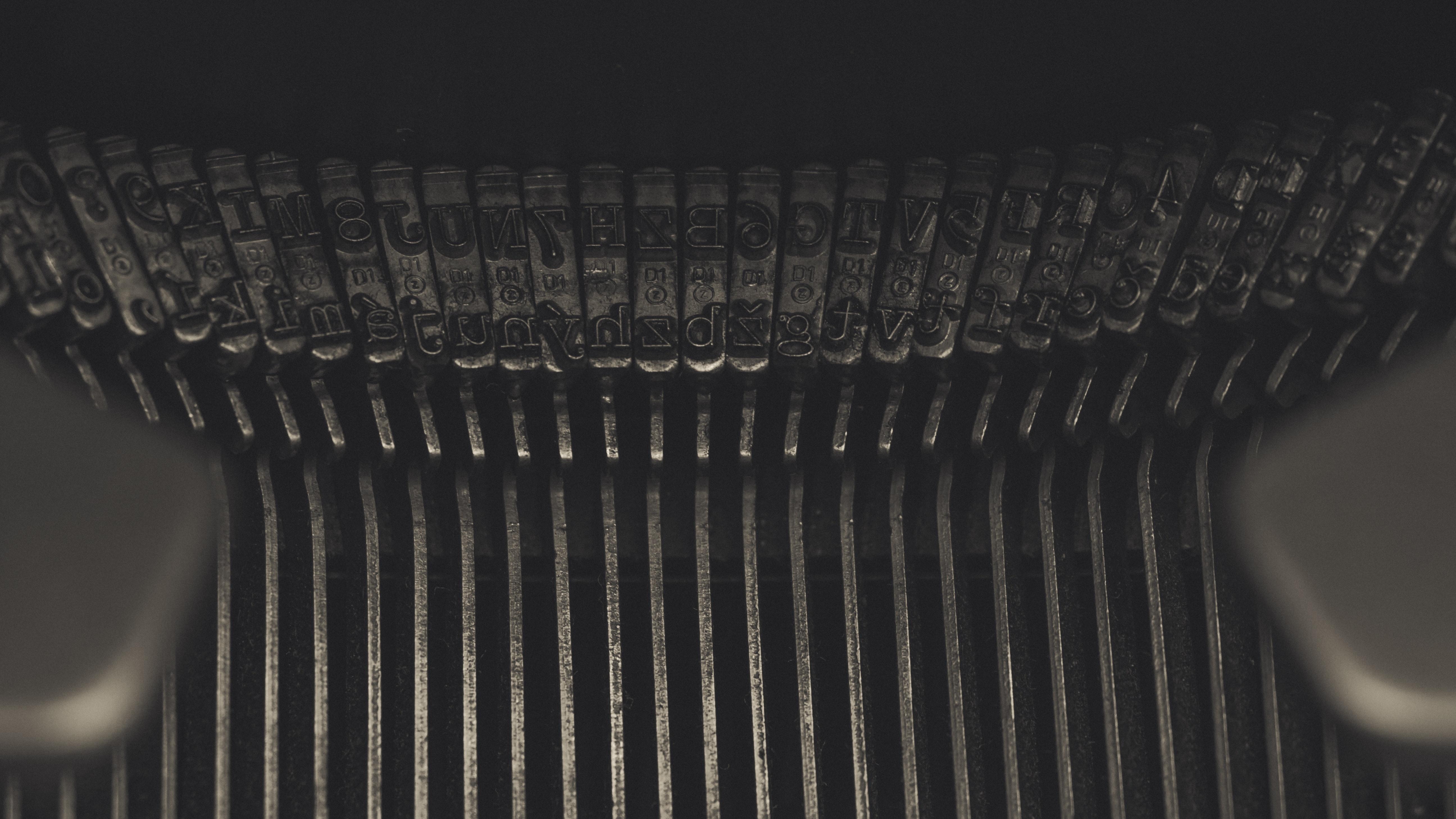 Close-up Photo of Typewriter, Metallic, Vintage, Typewriter, Typebars, HQ Photo