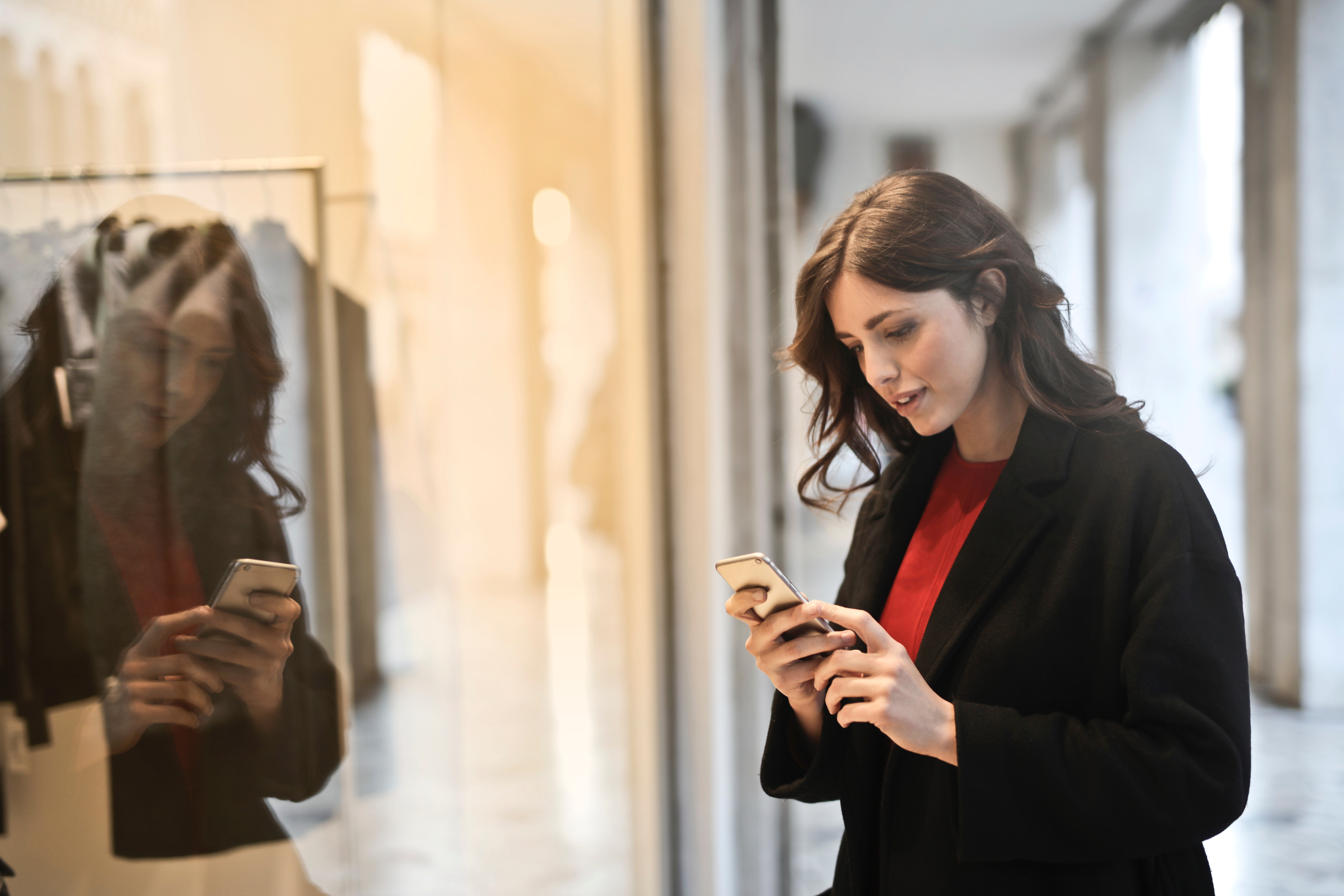 Close-up Photo of Woman in Black Coat Using Smartphone, Adult, Outerwear, Wear, Technology, HQ Photo