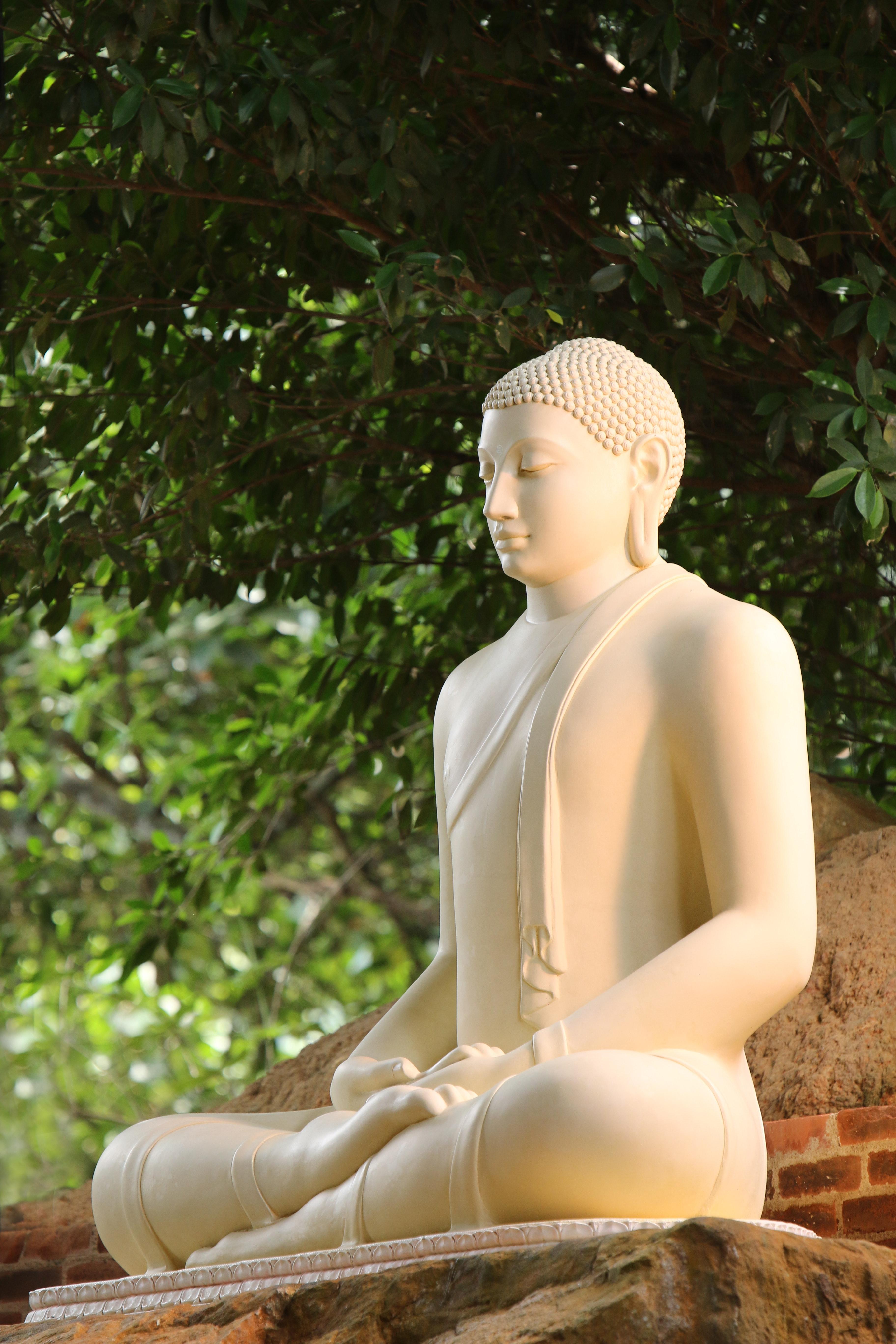 Close up photo white buddha statue