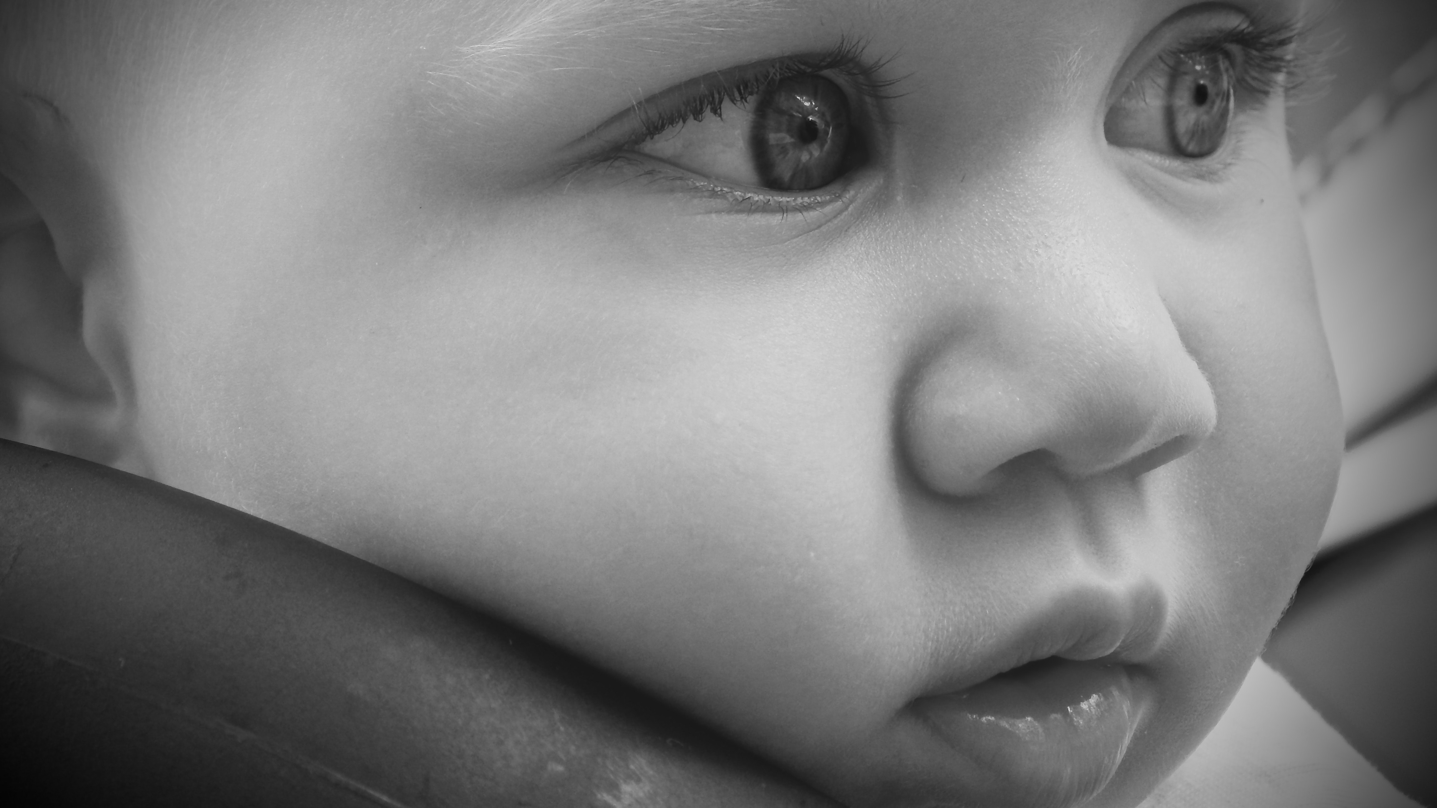 Baby Covered by White Towel Grayscale Photography