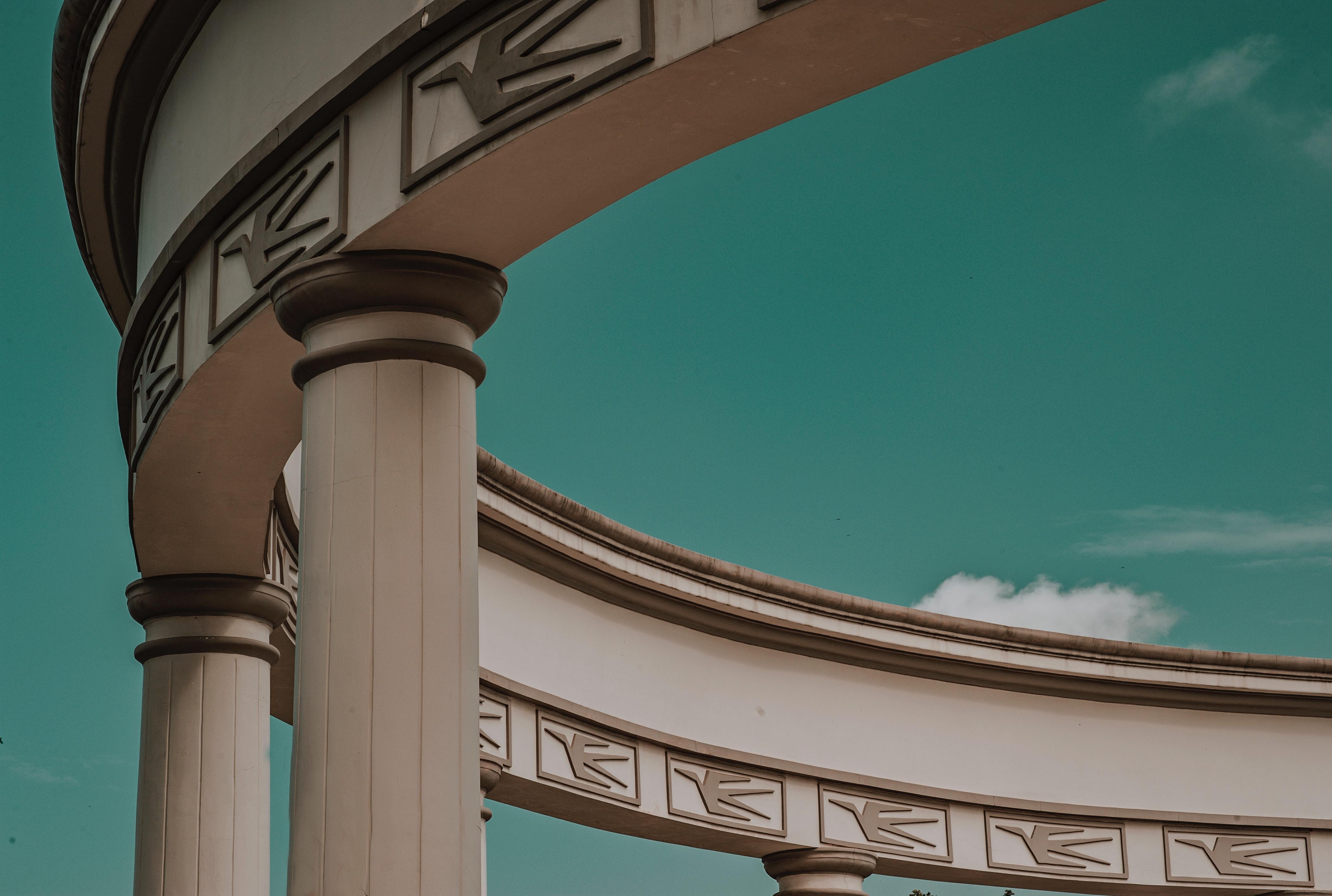 Close Up Photography of Concrete Column Building, Landmark, Design, Low angle shot, Outdoors, HQ Photo