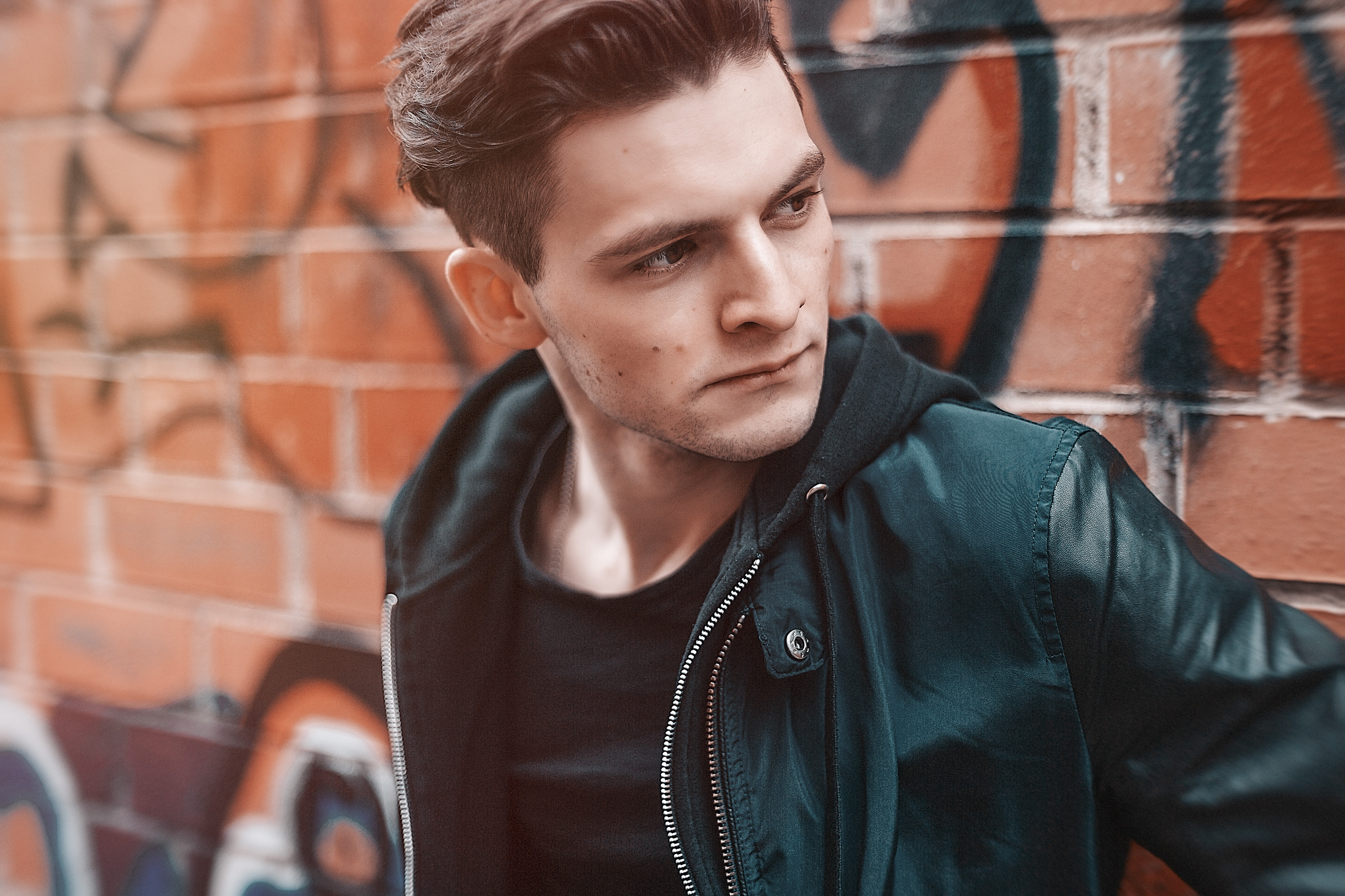 Close-up Photography of Man Wearing Leather Jacket, Adult, Model, Wear, Urban, HQ Photo