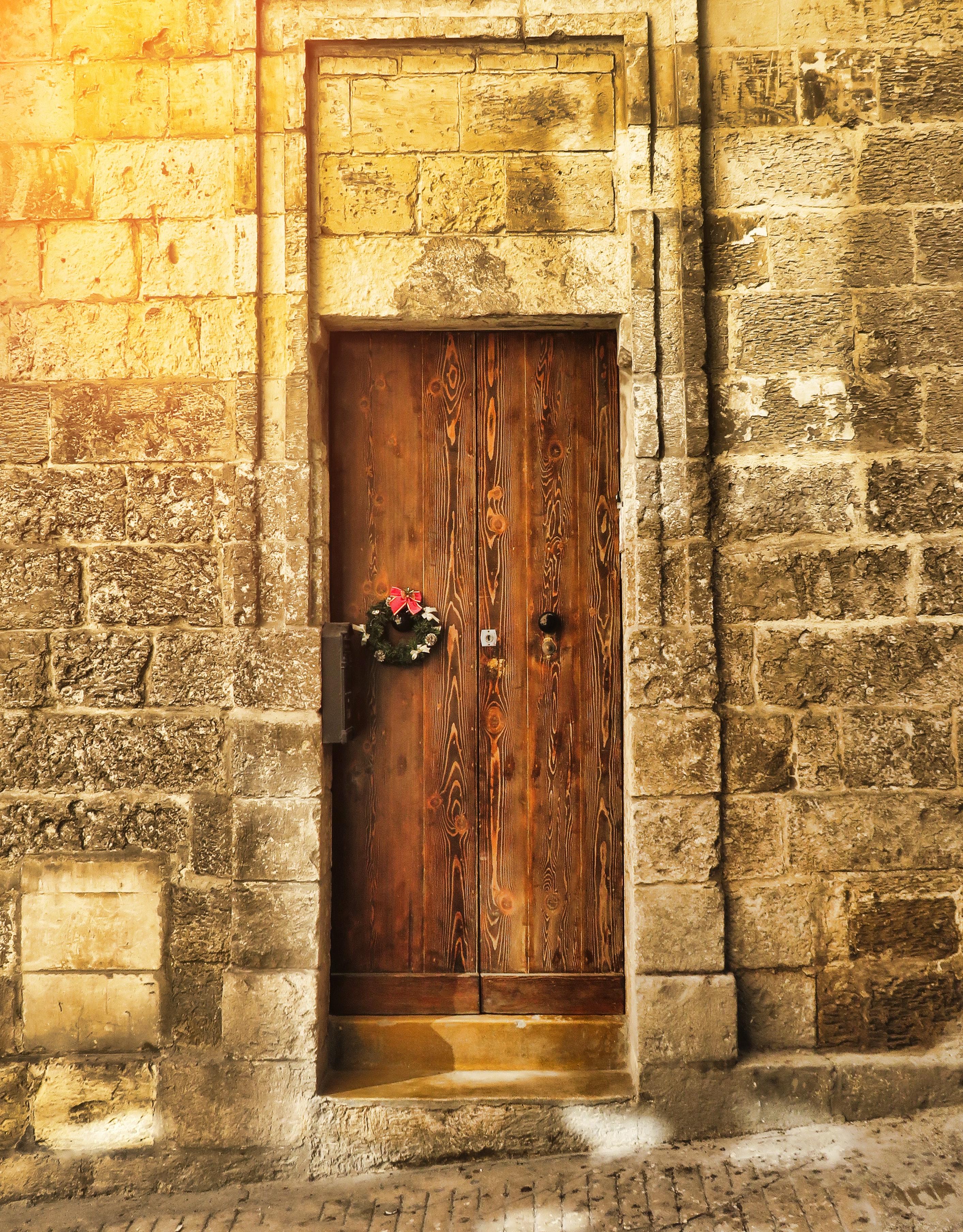 Closed brown wooden door photo