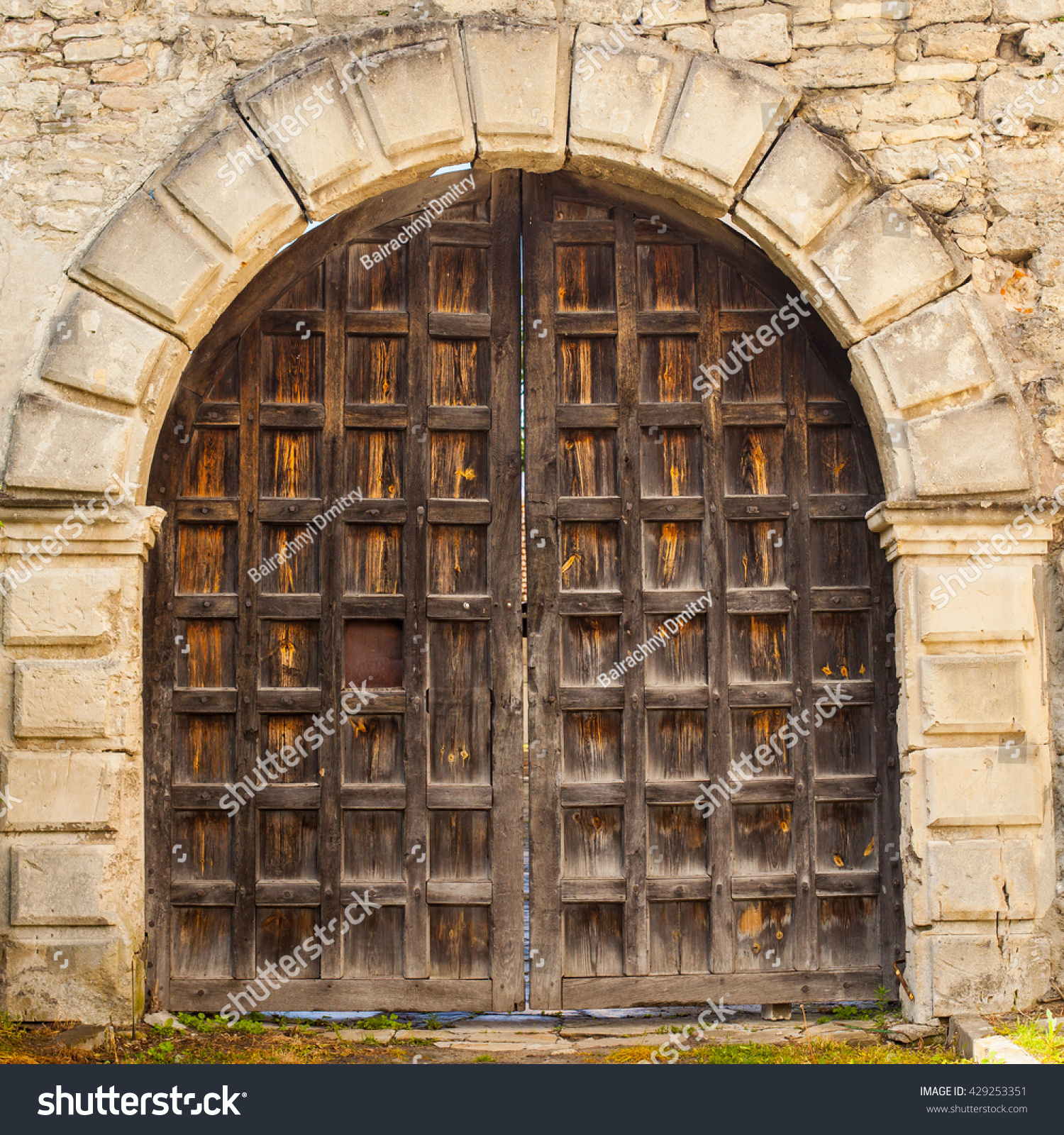Old Closed Wooden Door Surrounded By Stock Photo 429253351 ...