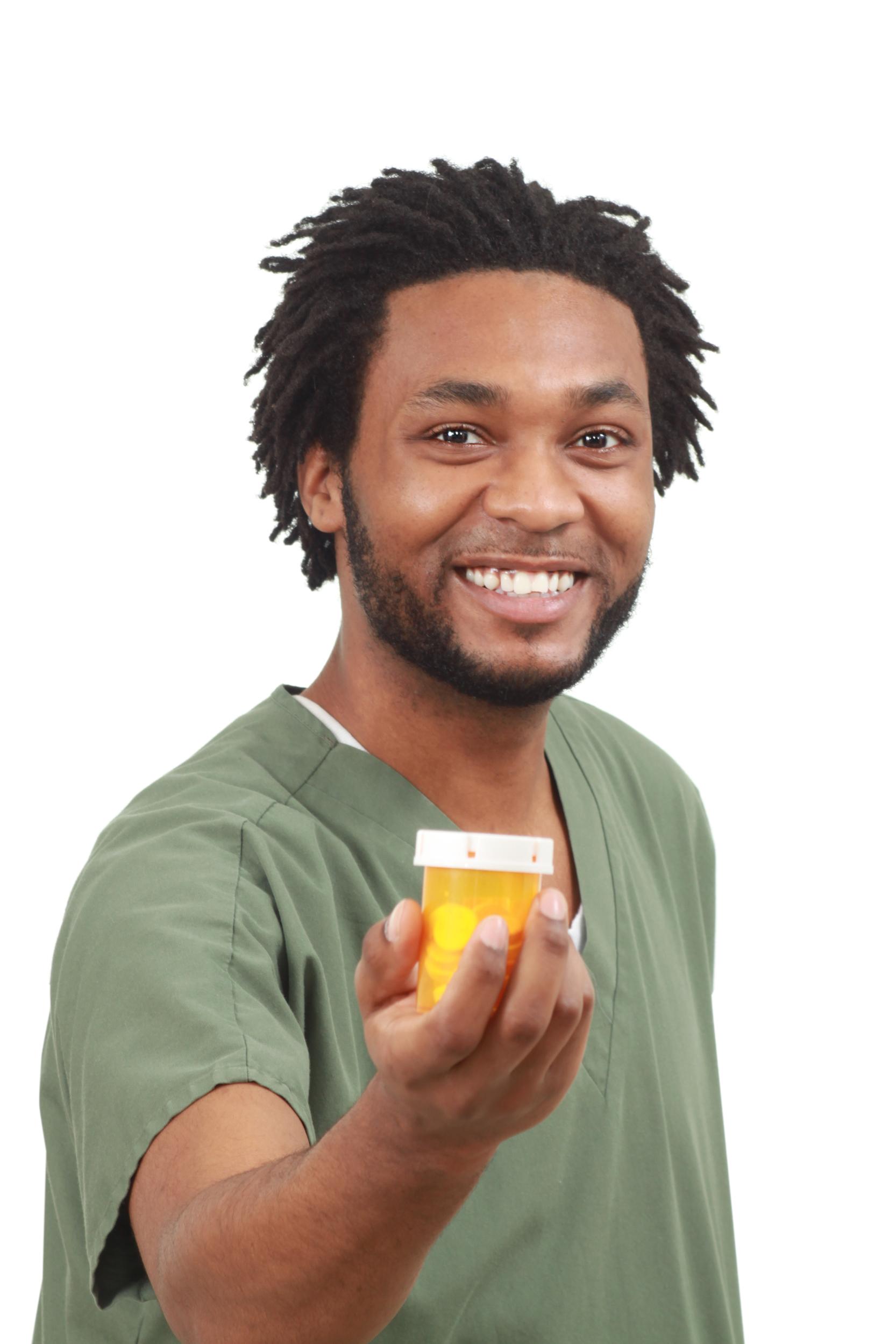Closeup of a nurse with medicine photo