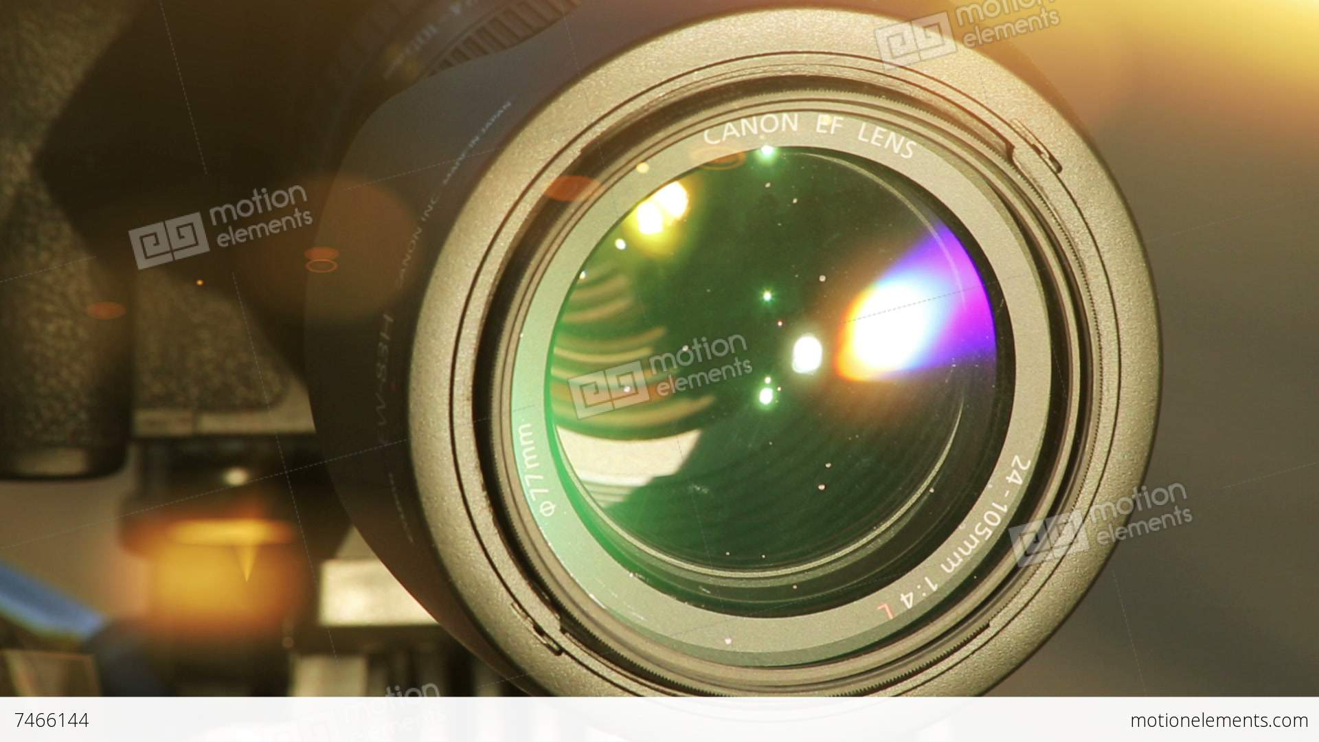 Flares On Lens. Close-up Shot Of Professional Camera. HD 1080 Stock ...
