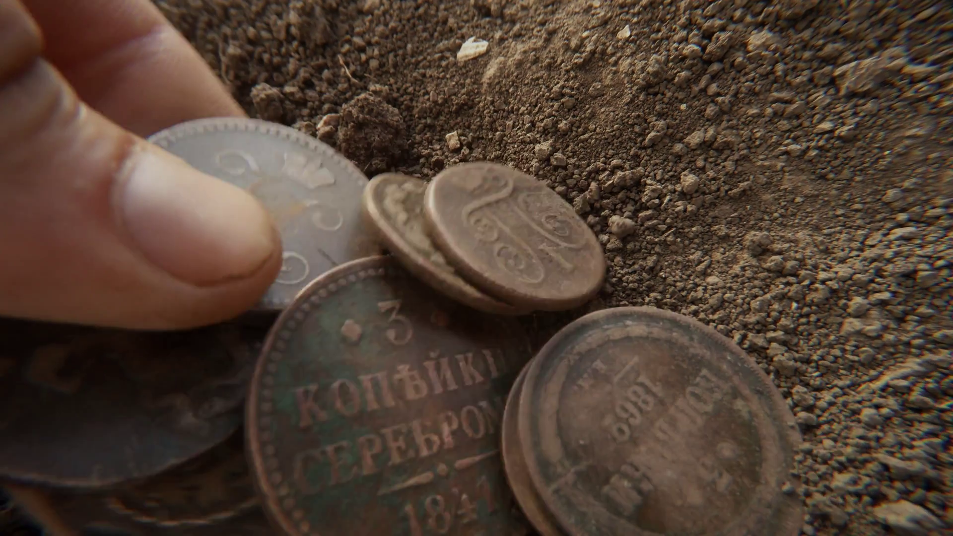 Hands Bury Old Russian Czarist Copper Coins Different Face-Value in ...