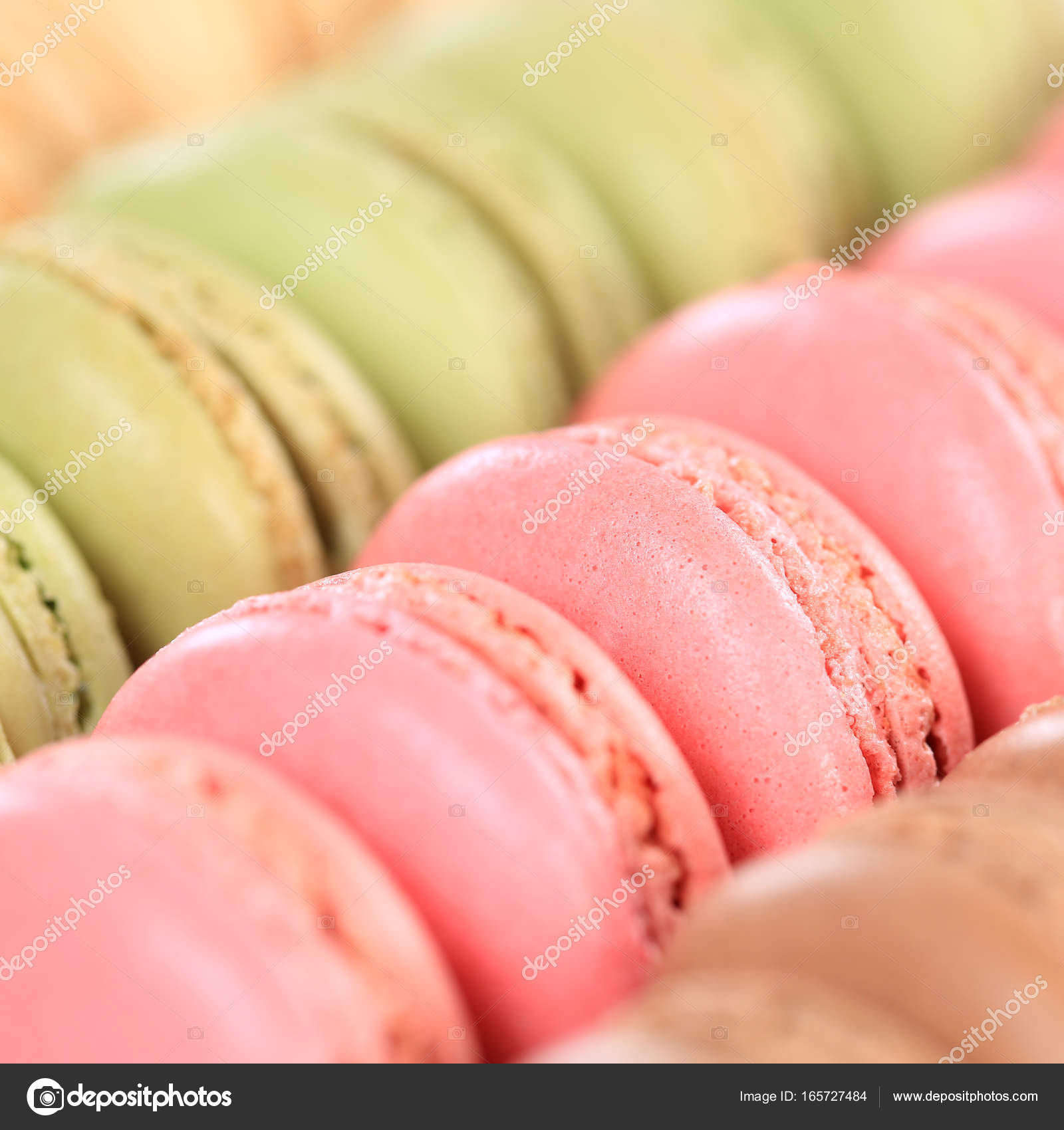 Macarons macaroons closeup square cookies dessert from France ...