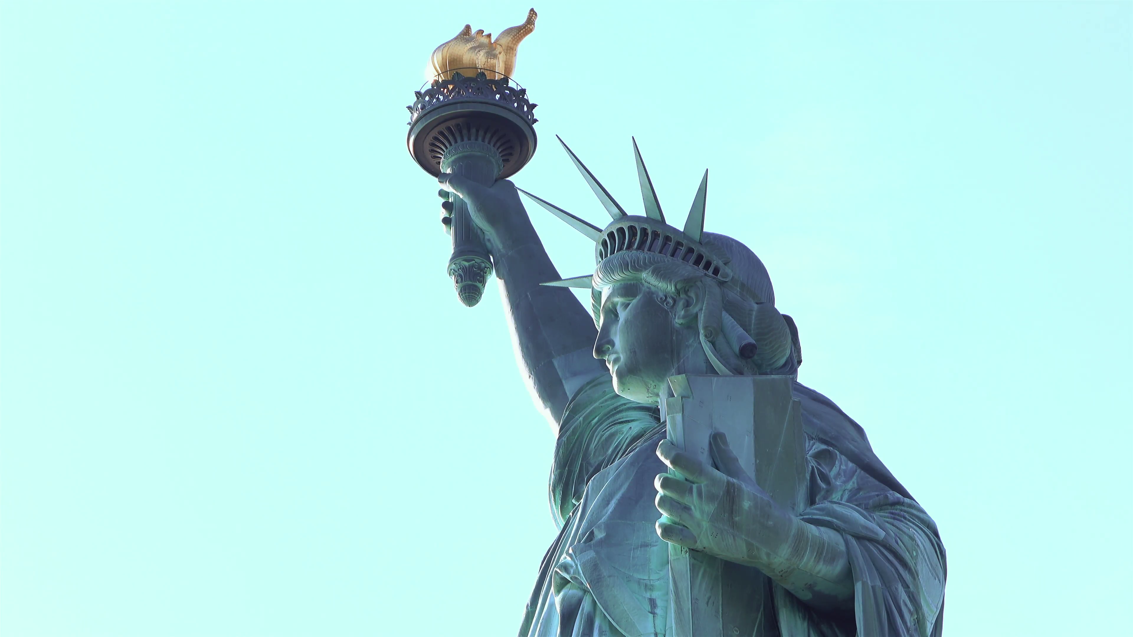 Statue of Liberty close up on face and torch 4k Stock Video Footage ...