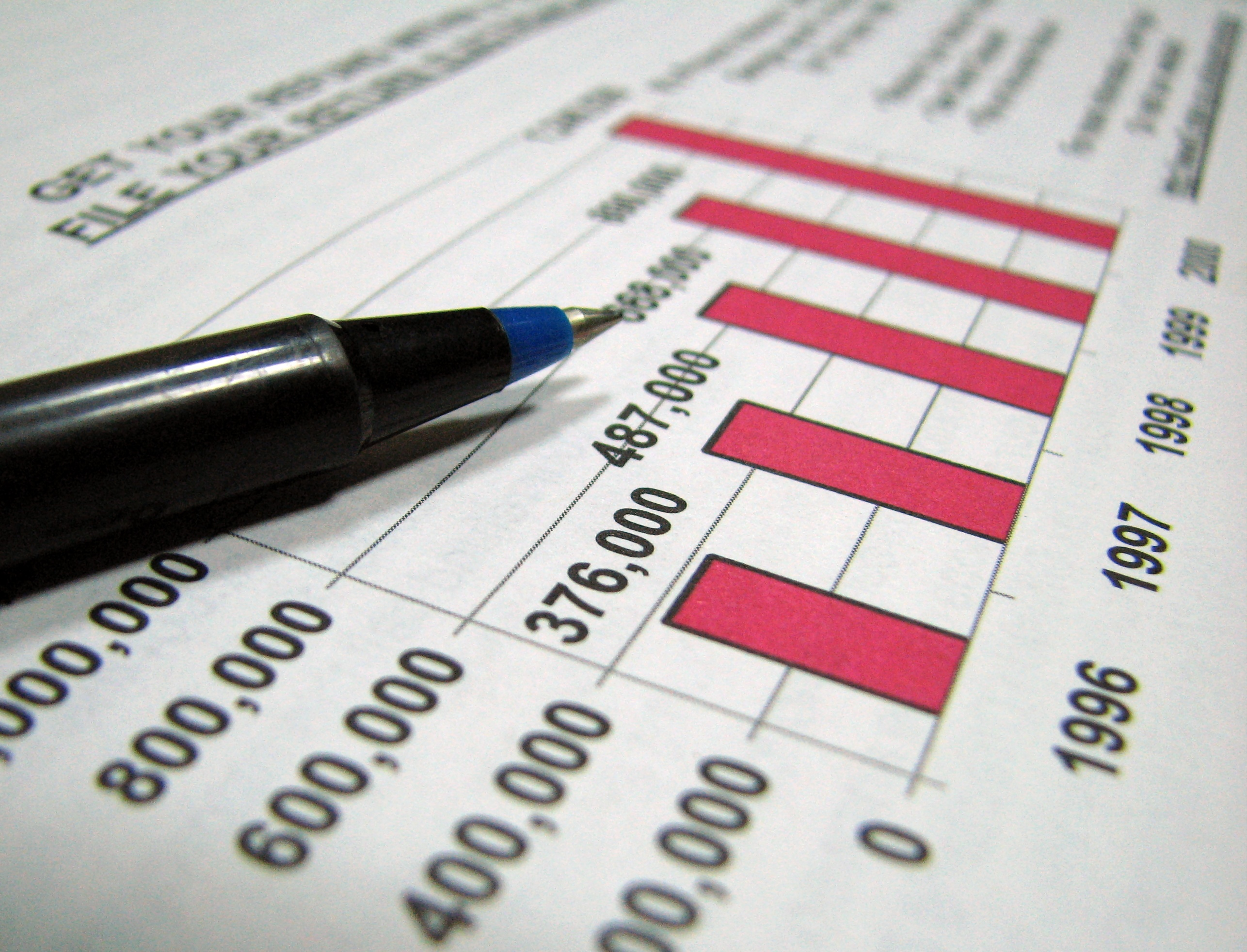 Closeup of tax graph and pen, Business, Graphs, Office, Pens, HQ Photo
