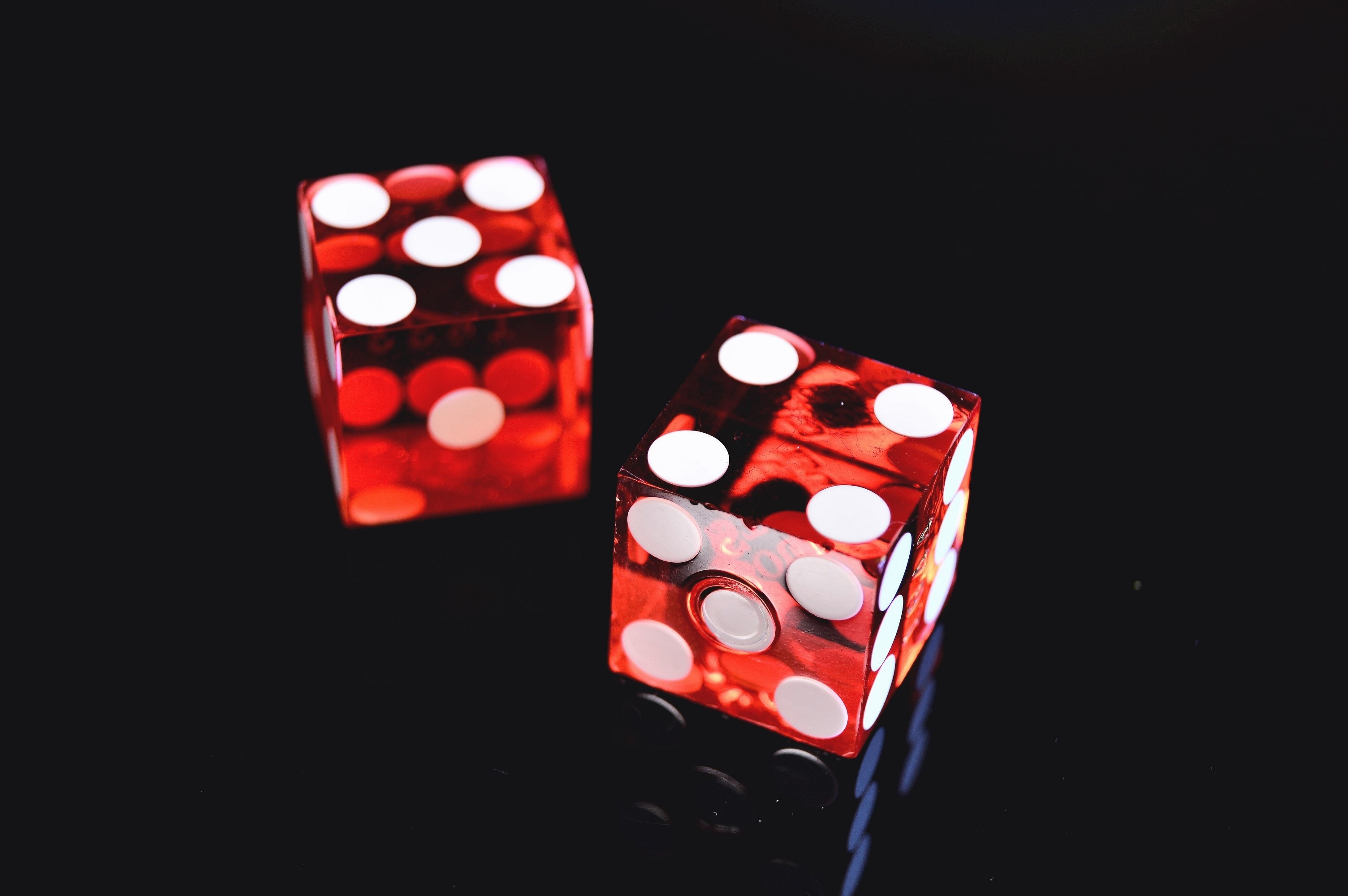 Closeup Photo of Two Red Dices Showing 4 and 5, Black background, Las Vegas, Symbol, Sweden, HQ Photo