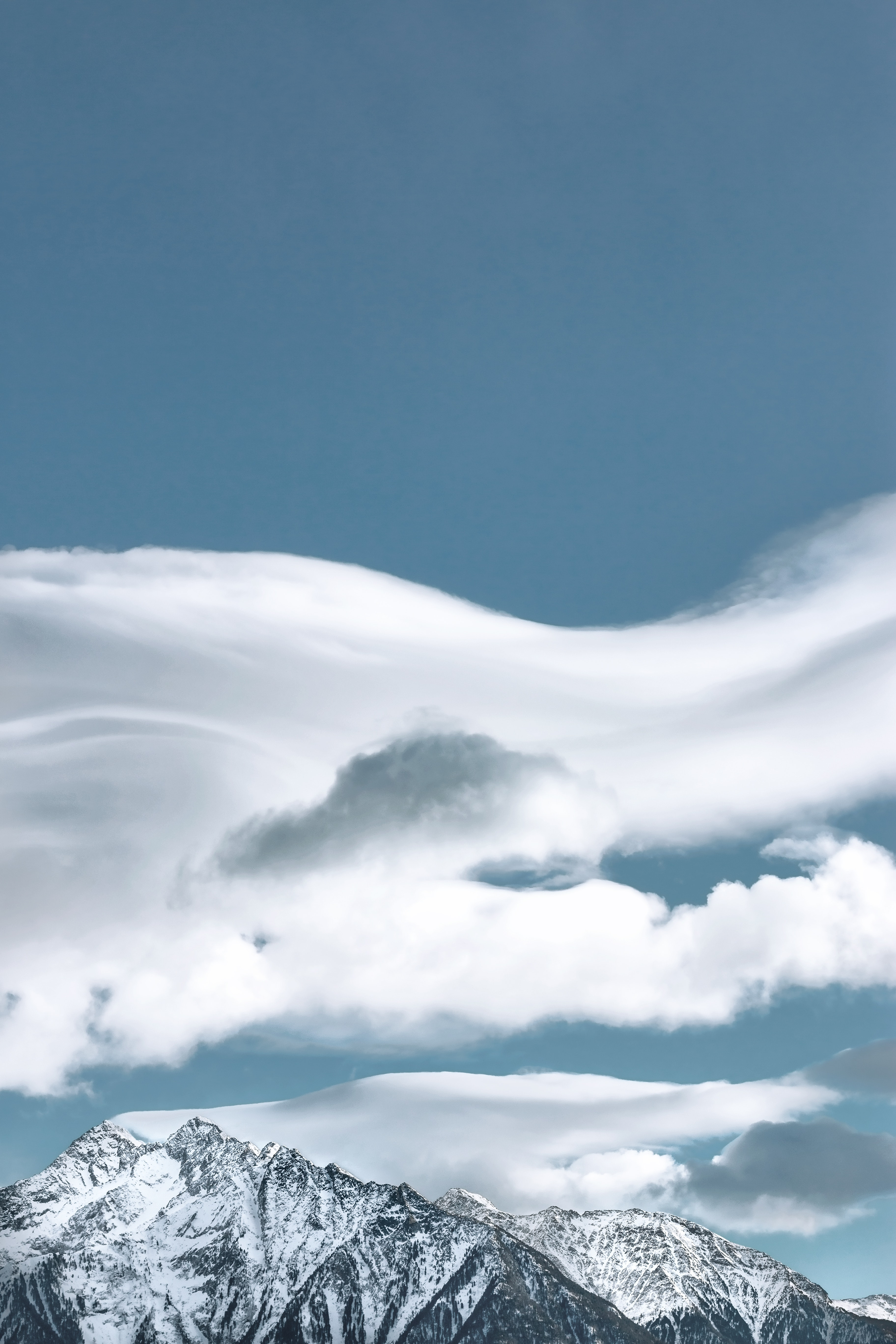 Cloud Formation Above Snow-capped Mountain, Clouds, Cold, Daytime, High, HQ Photo