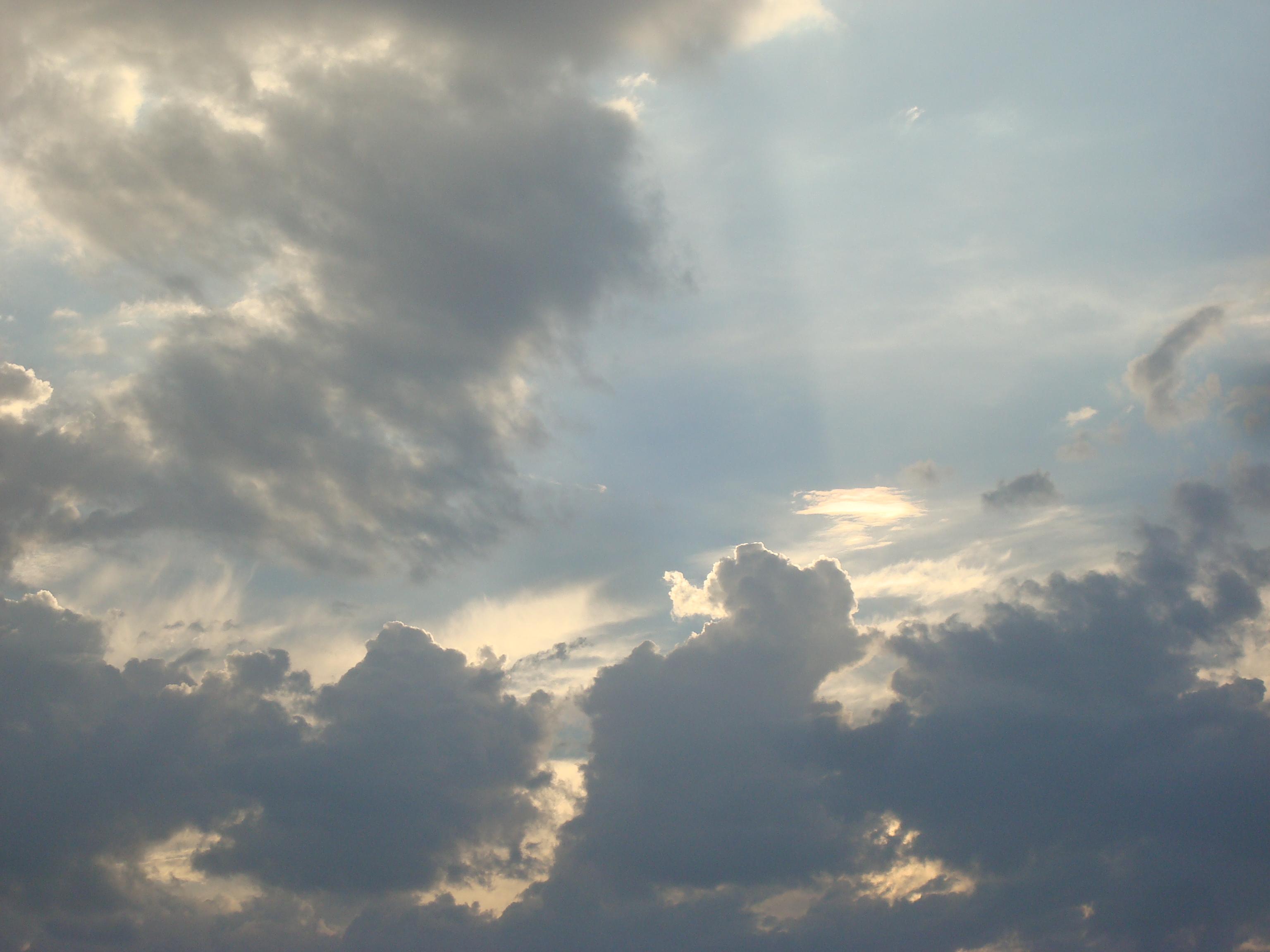 Clouds hiding the sun, Beautiful, Blue, Clouds, Cloudy, HQ Photo