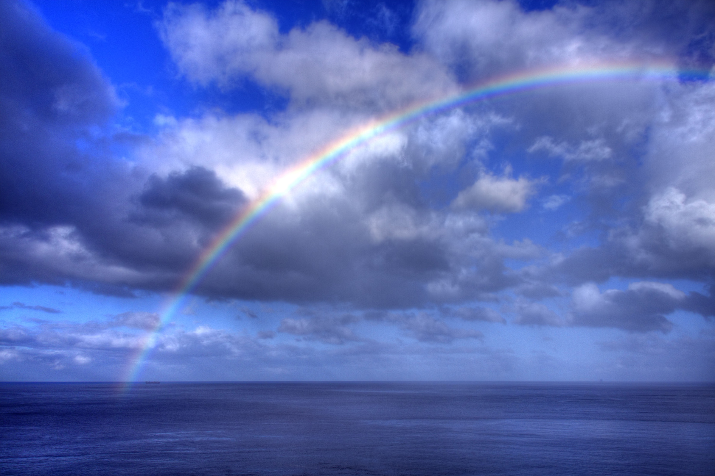 Clouds with Rainbow, Above, Sunny, Puffy, Rays, HQ Photo