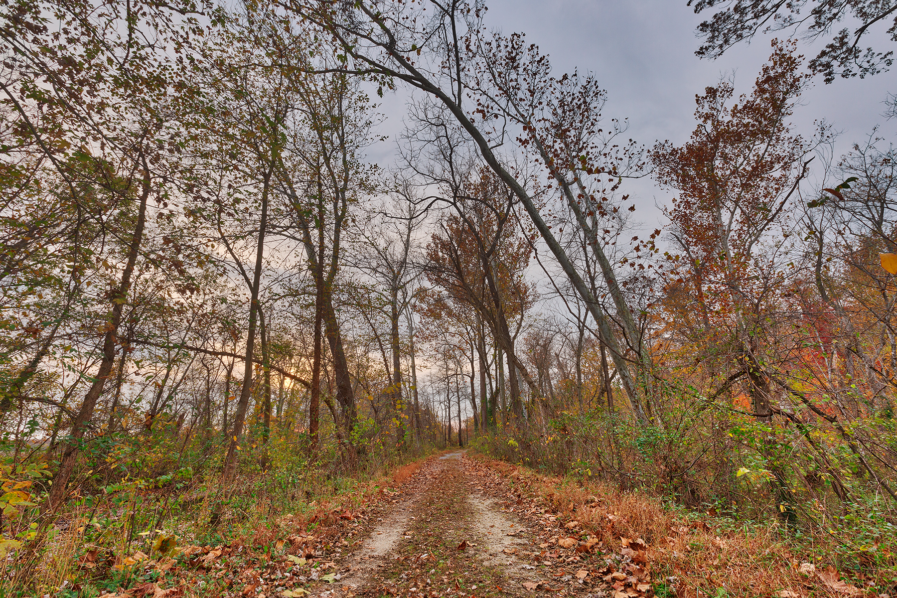 Cloudy autumn sunset trail - hdr photo
