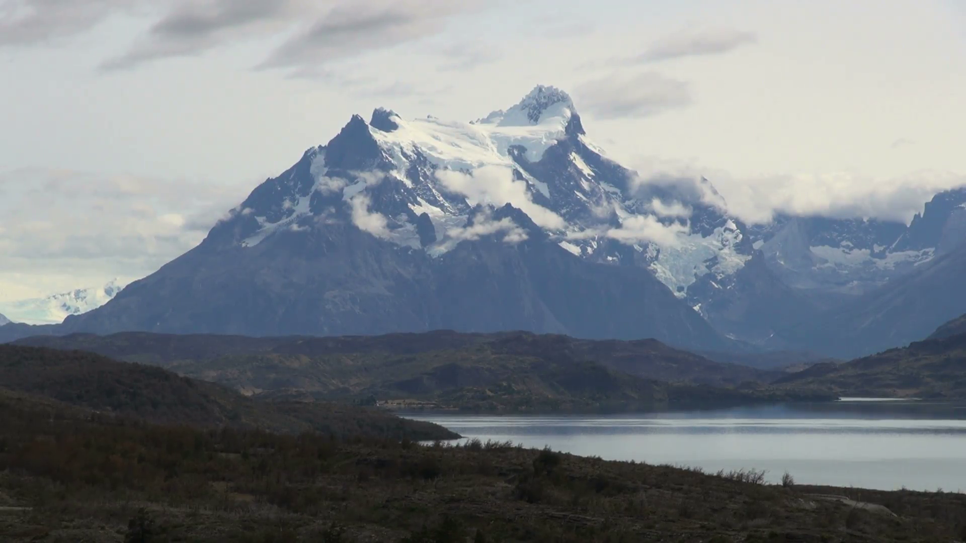 Cloudy Snow Covered Mountains in Chile National Park Stock Video ...