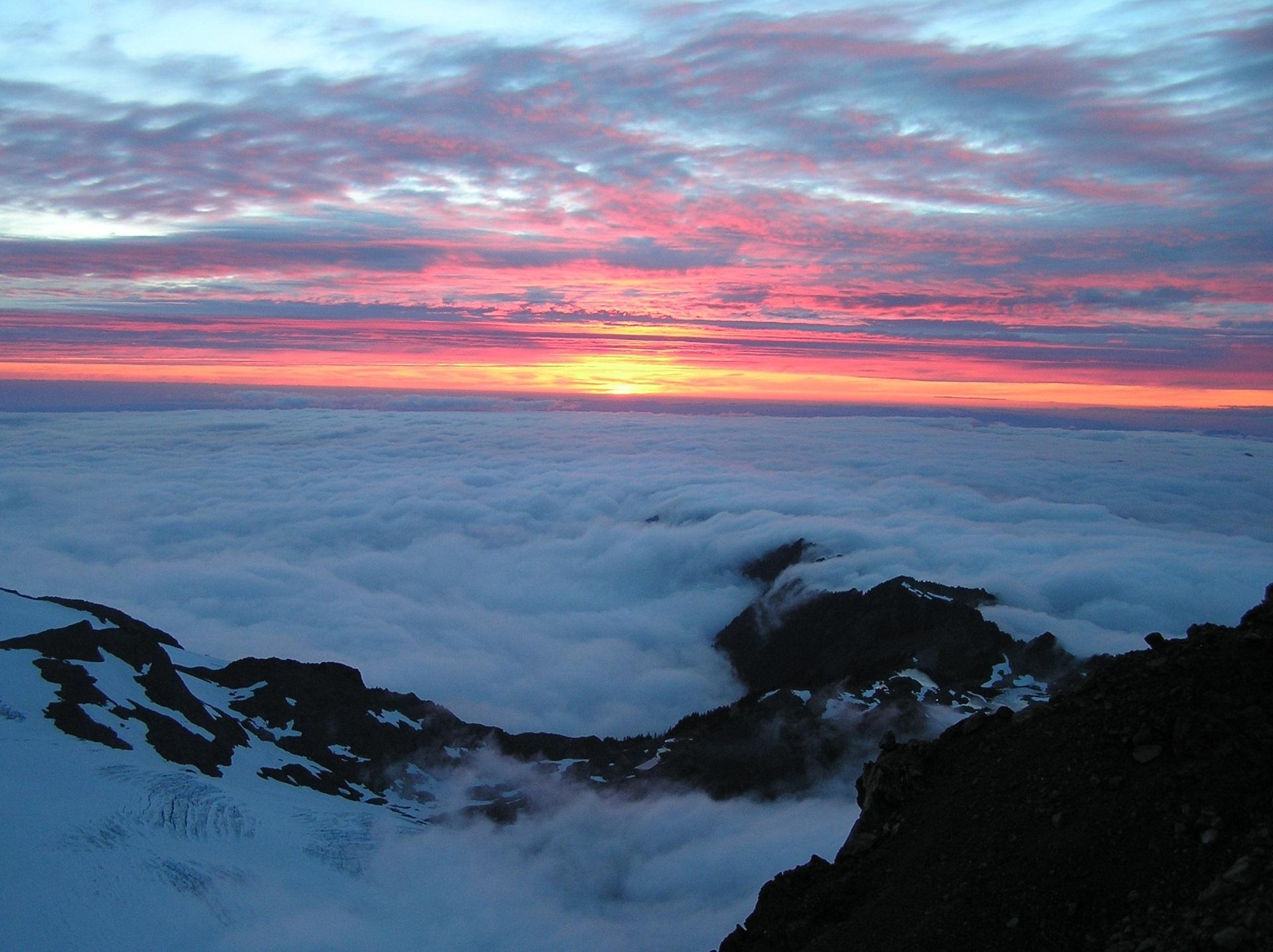 Cloudy mountain tops photo